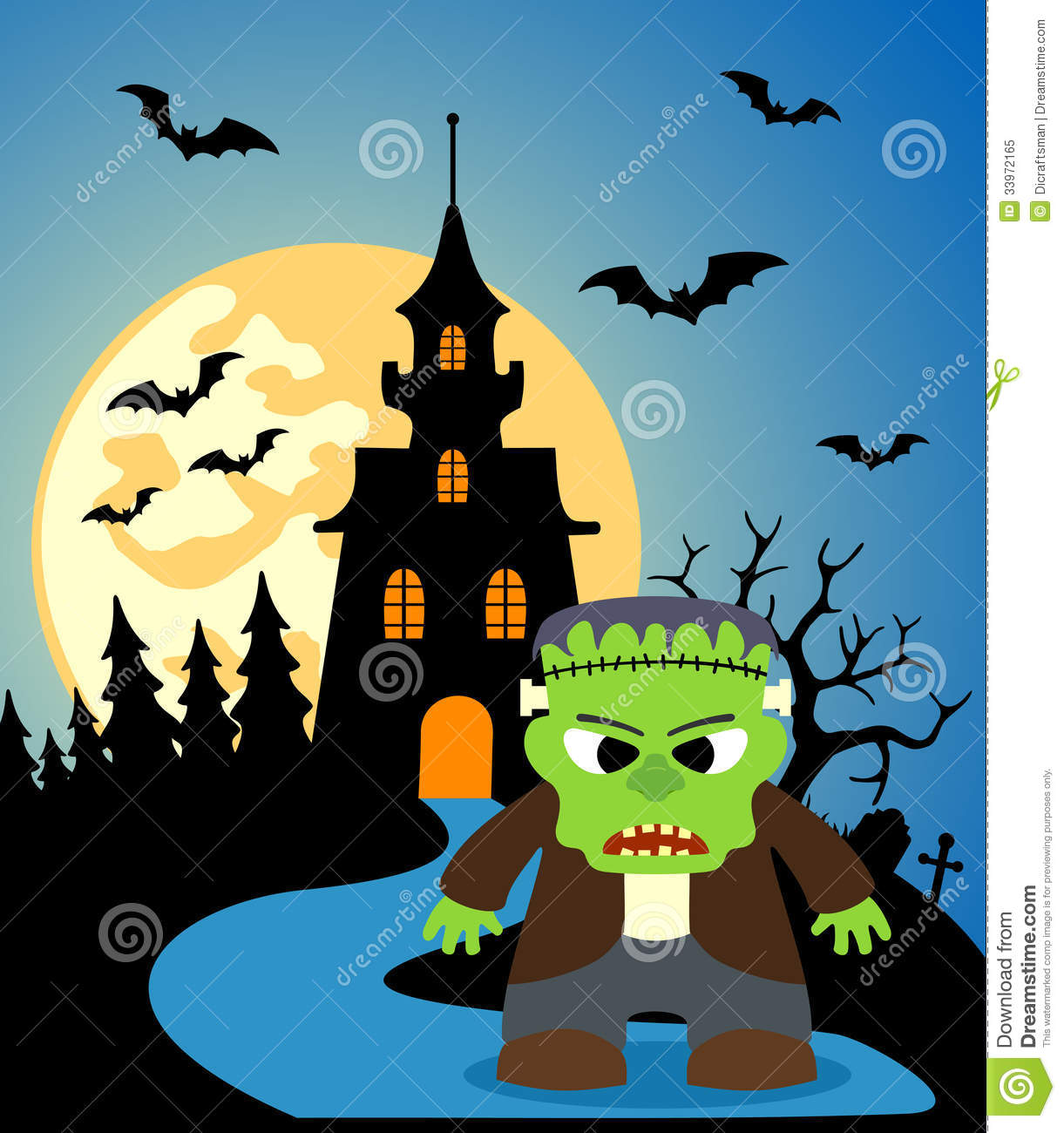 Halloween Background With Frankenstein Stock Vector ...