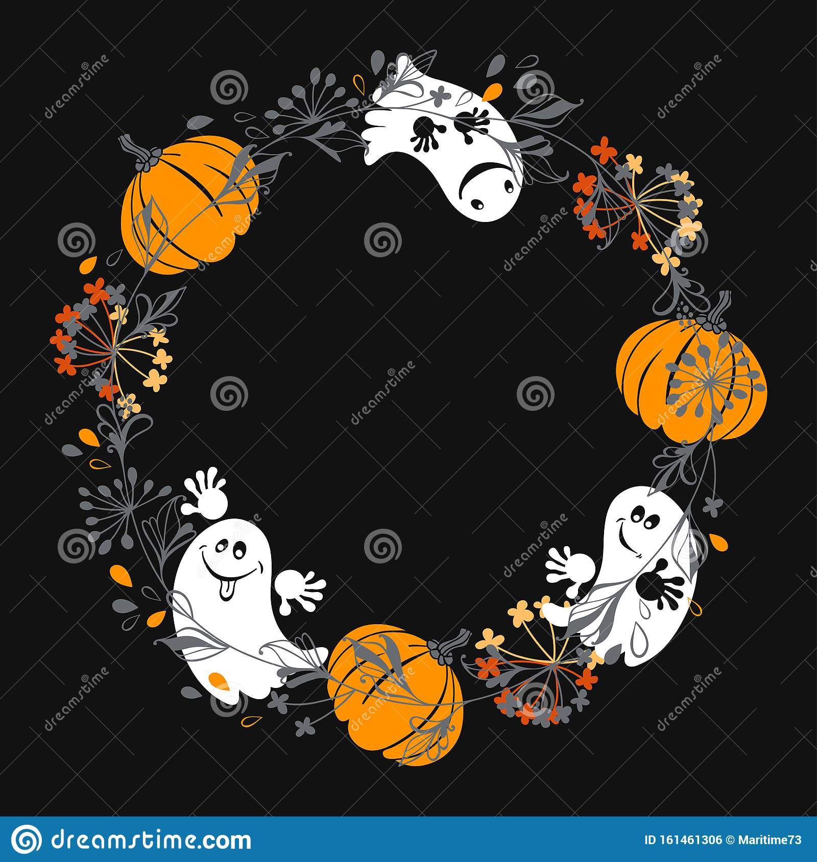 Halloween Background With Funny Ghosts And Pumpkins. Round