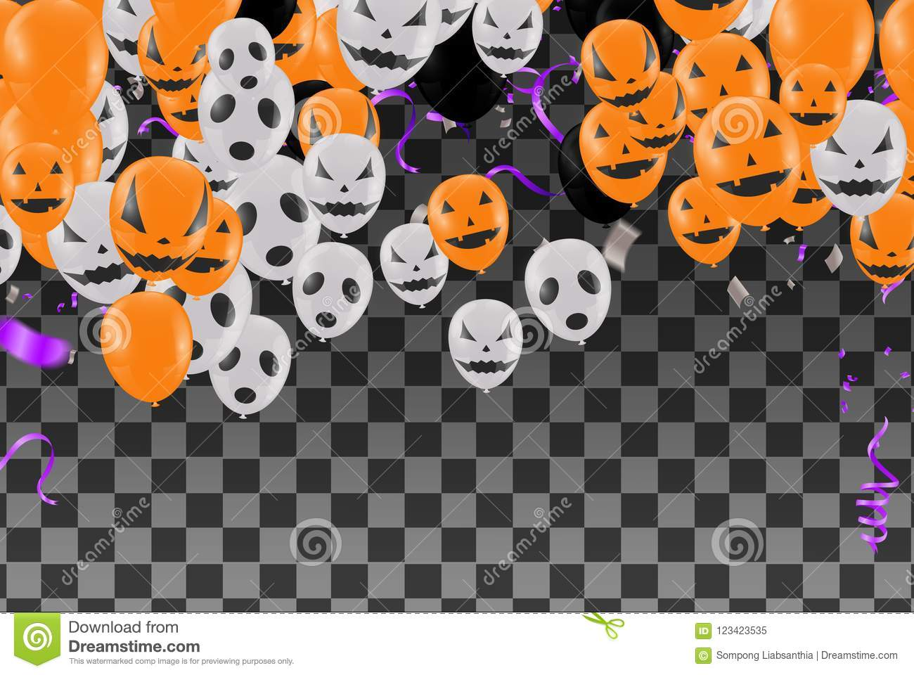 Halloween Background With Halloween Ghost Balloons Scary Air