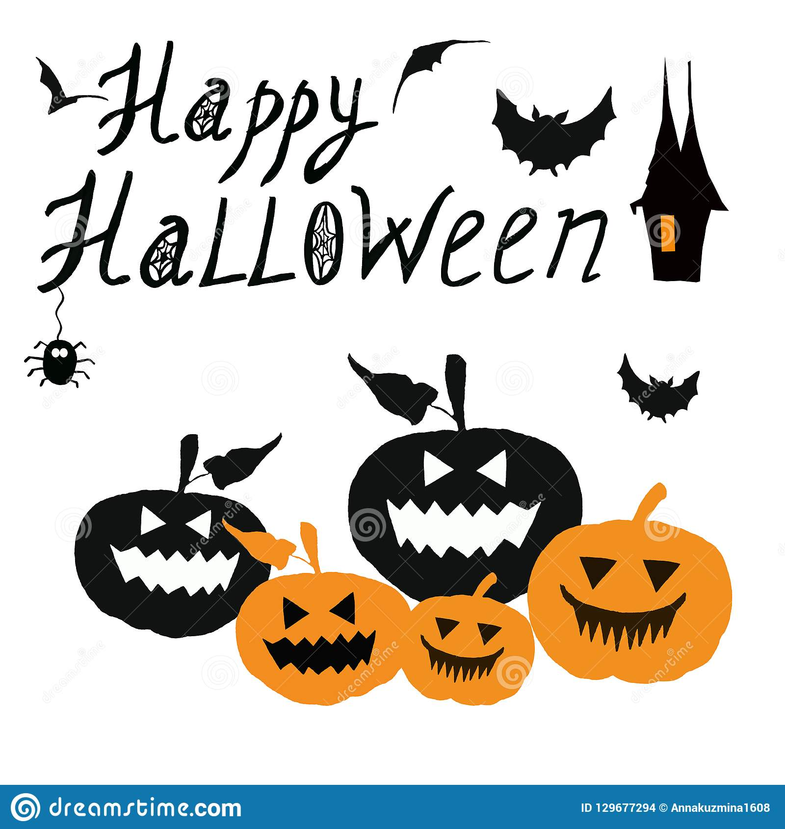 Halloween Background Happy Halloween Card With Spooky Scary Carved Pumpkins Stock Illustration Illustration Of Invitation Background 129677294