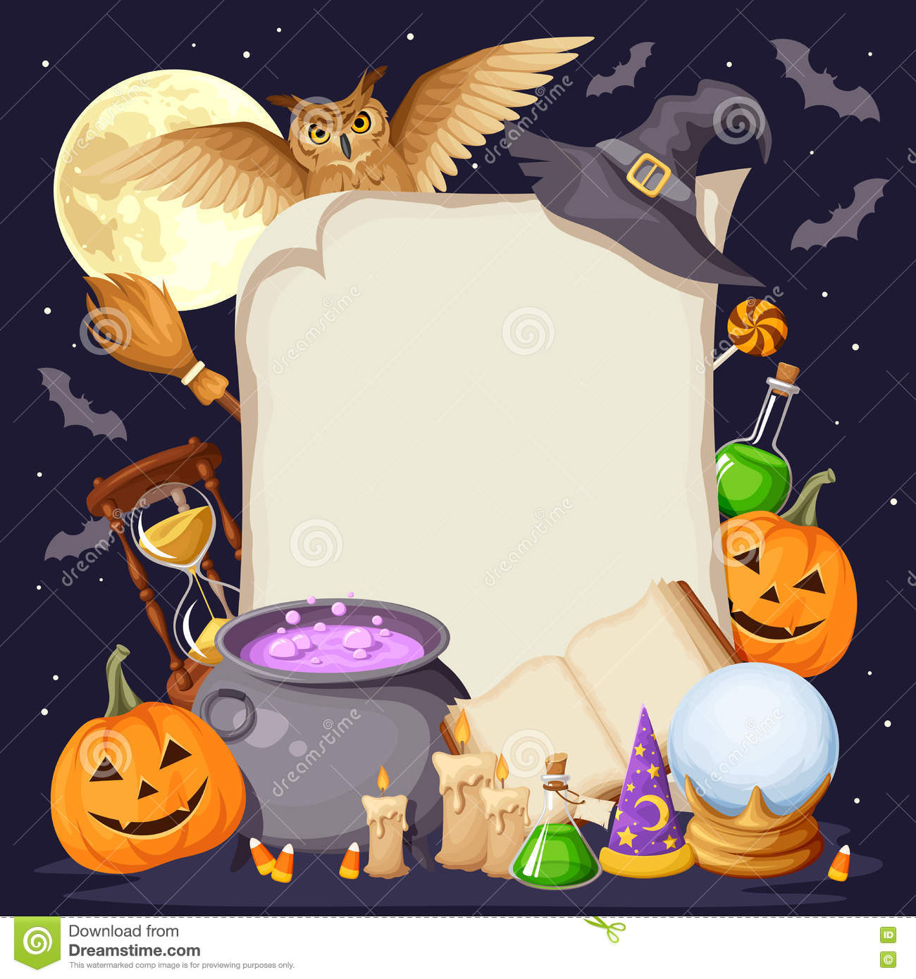 Halloween background with magic symbols. Vector eps-10.