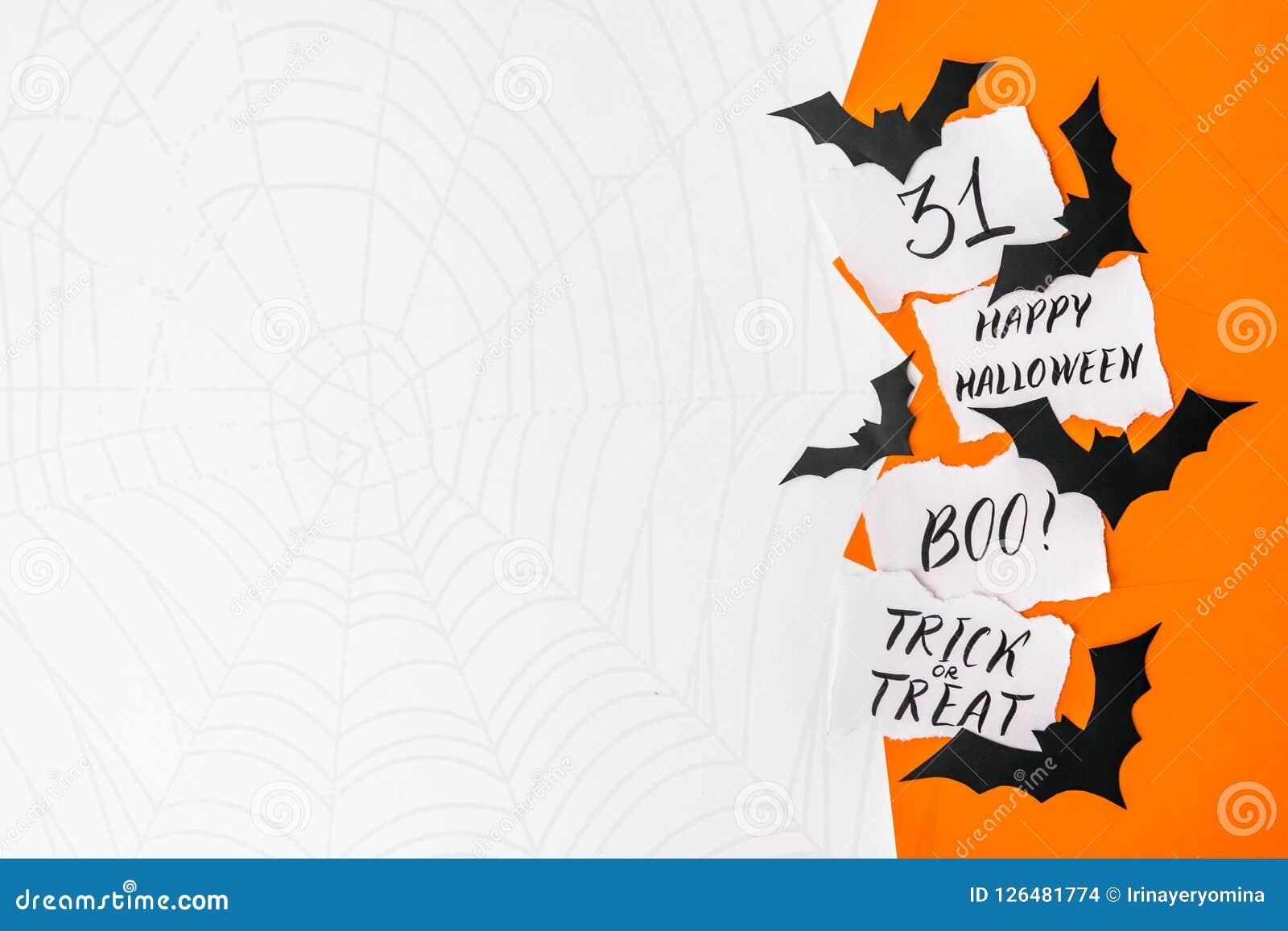 Halloween background, mockup. Card with text HAPPY HALLOWEEN, BO