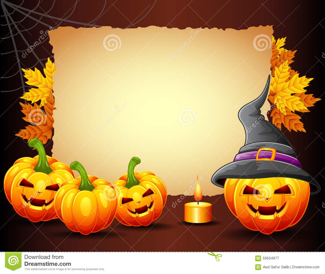 halloween background with old paper stock vector illustration of