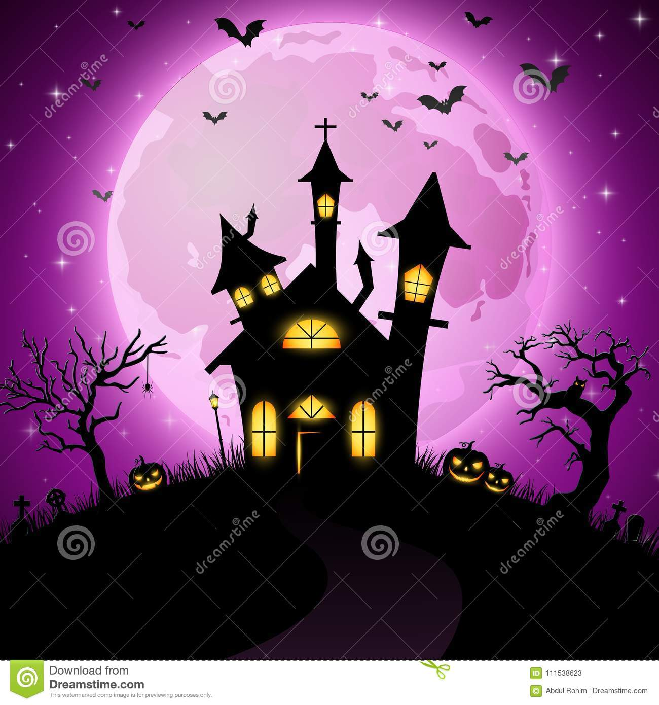 Halloween Background With Scary Church Stock Vector