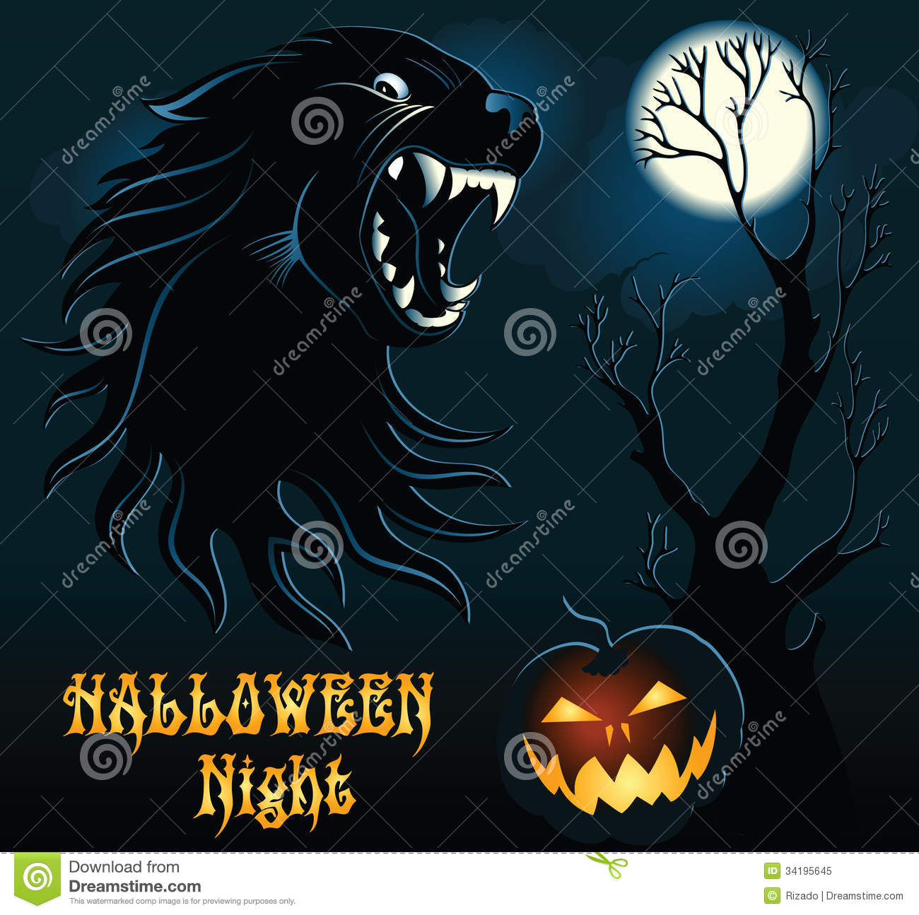 background cartoon halloween wild wolf - Wolf Halloween