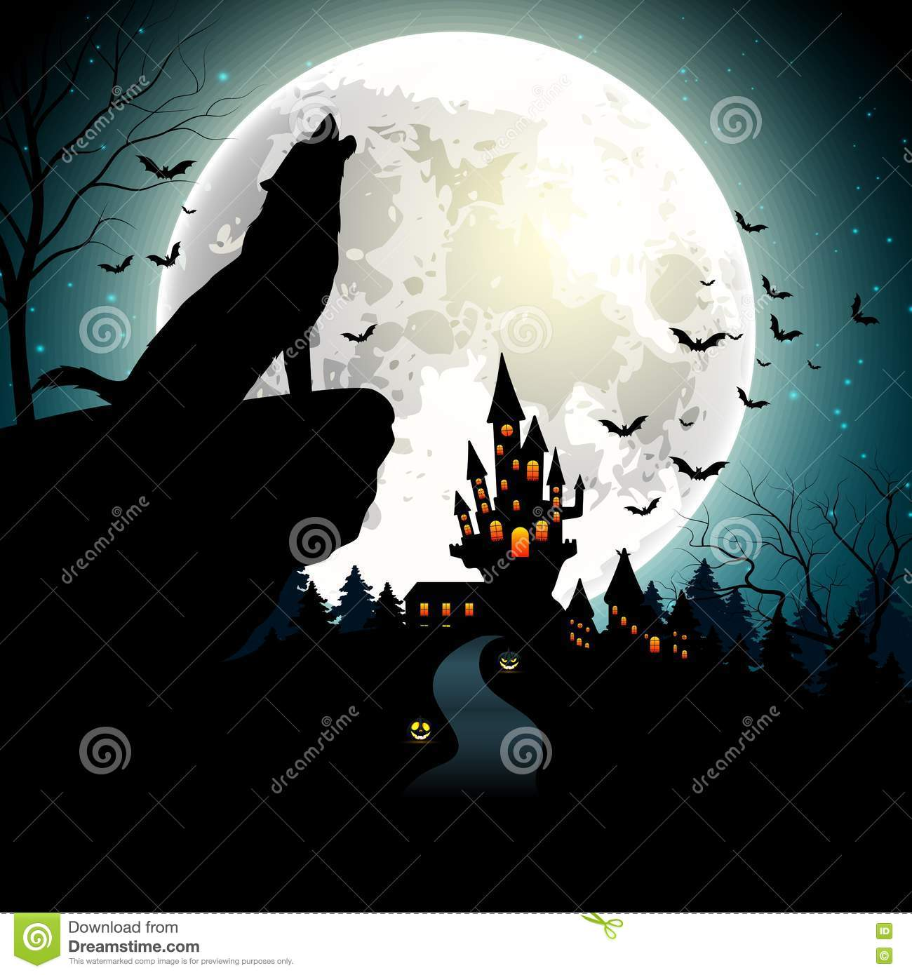halloween background with the wolf on full moon - Wolf Halloween