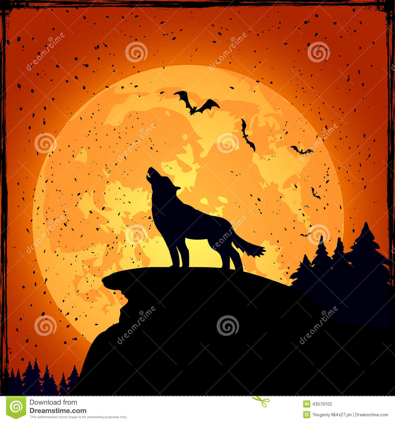 background full grunge halloween illustration moon night wolf - Wolf Halloween