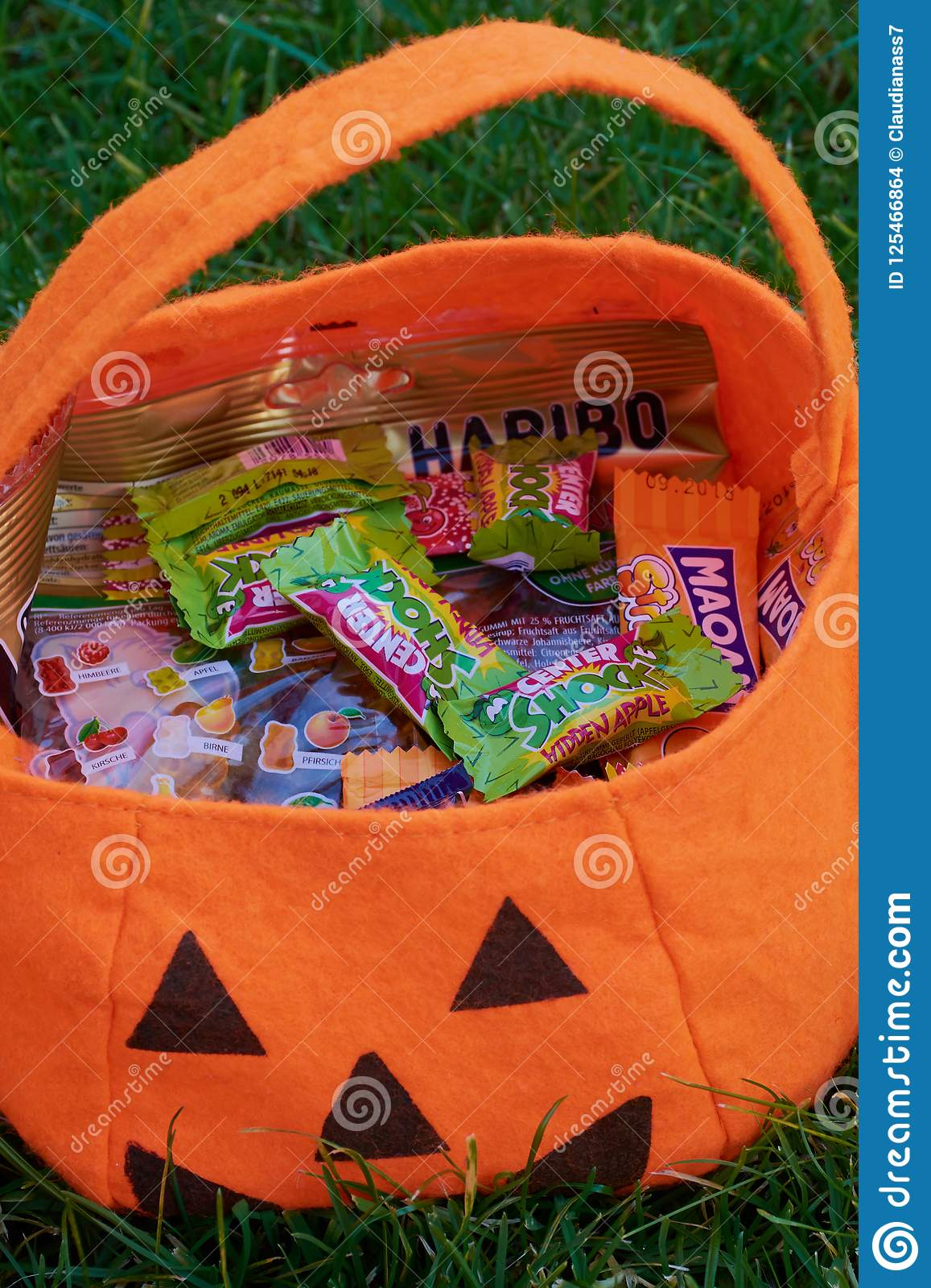 Halloween bag with different sweets