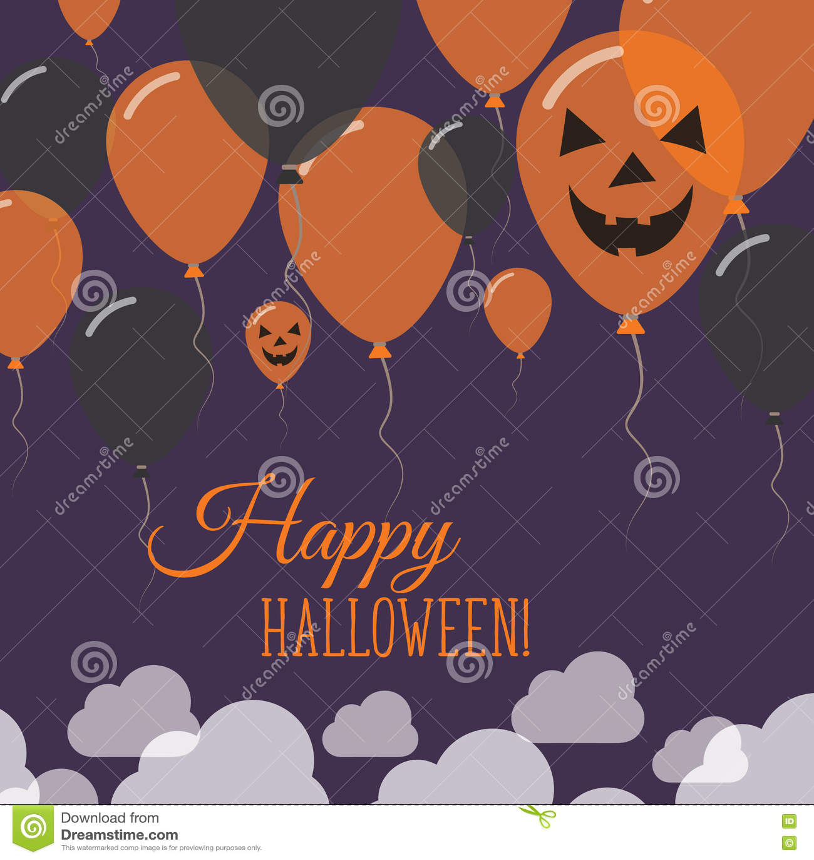 Halloween Balloons Flat Top Greeting Card Stock Vector