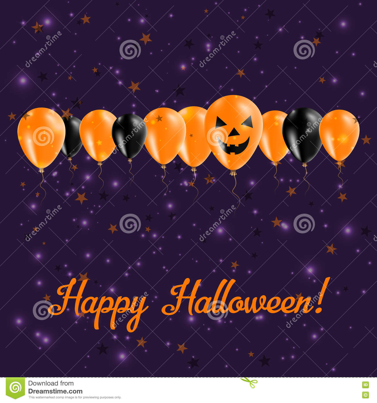 Halloween balloons row greeting card stock vector illustration of halloween balloons row greeting card black and orange colored all saints day poster vector illustration m4hsunfo
