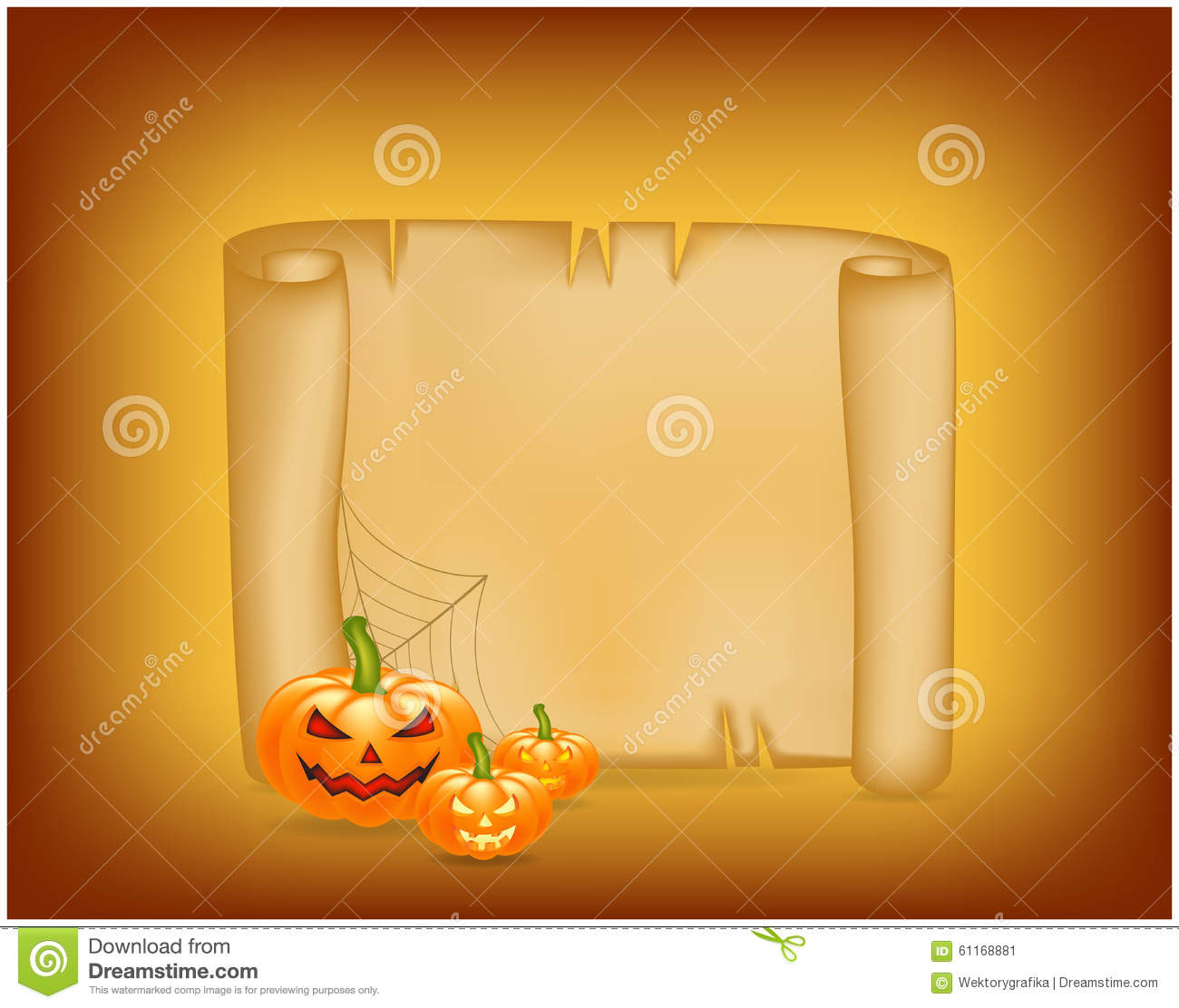 halloween banner  card with empty paper scroll and pumpkin