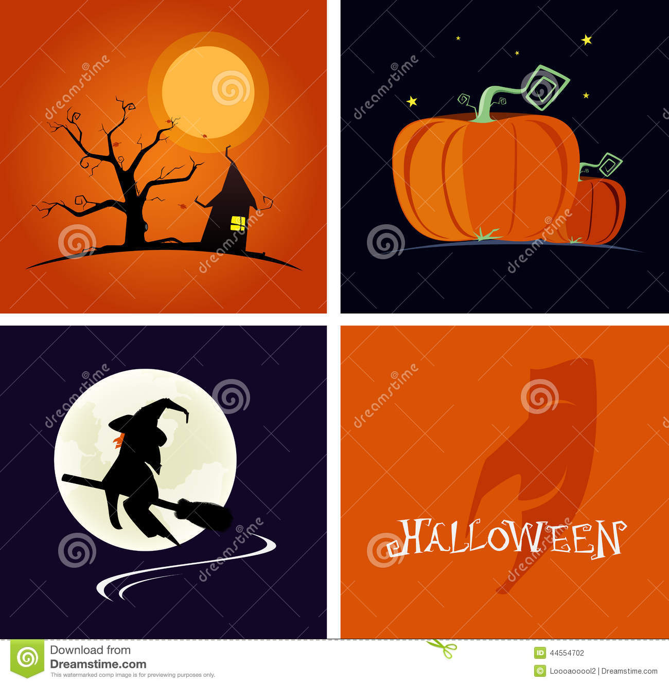 Halloween Banner And Logo Flat Design Style Vector