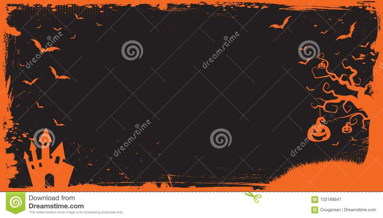 halloween banner template with pumpkin scary house flying bat