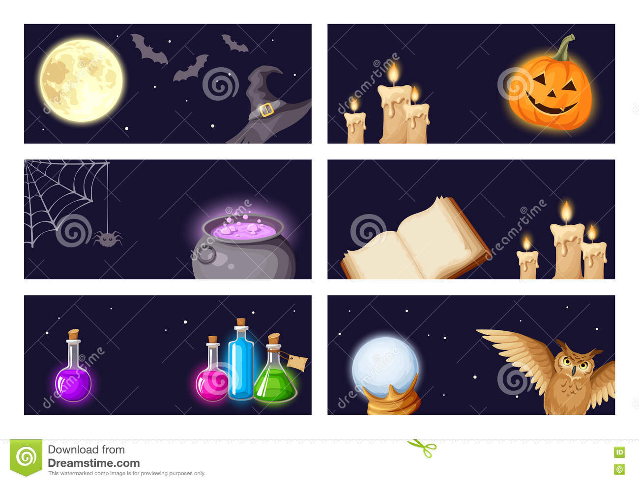 Halloween banners with magic symbols. Vector eps-10.