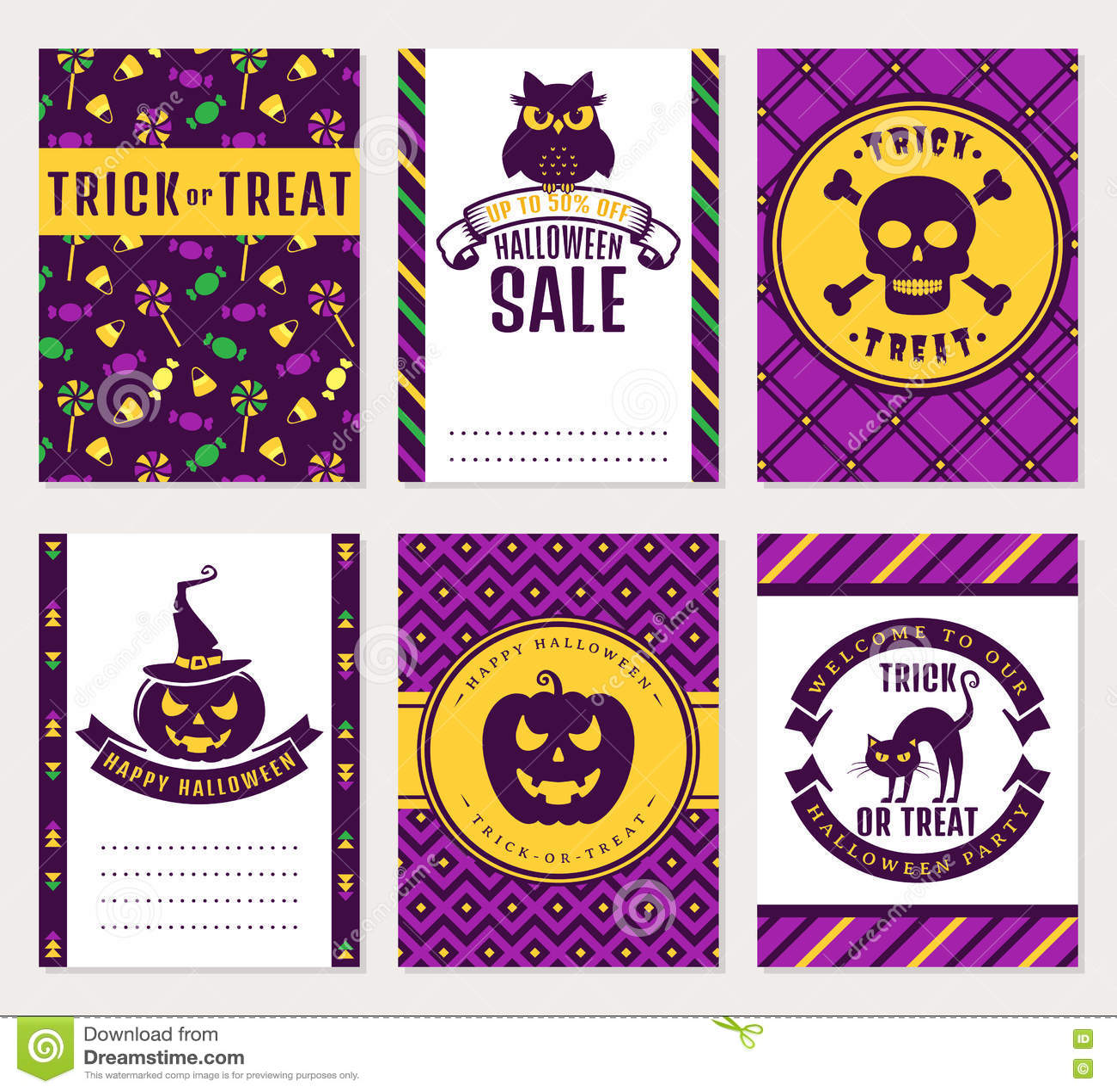 Halloween Banners Vector Set Stock Vector Illustration Of Card