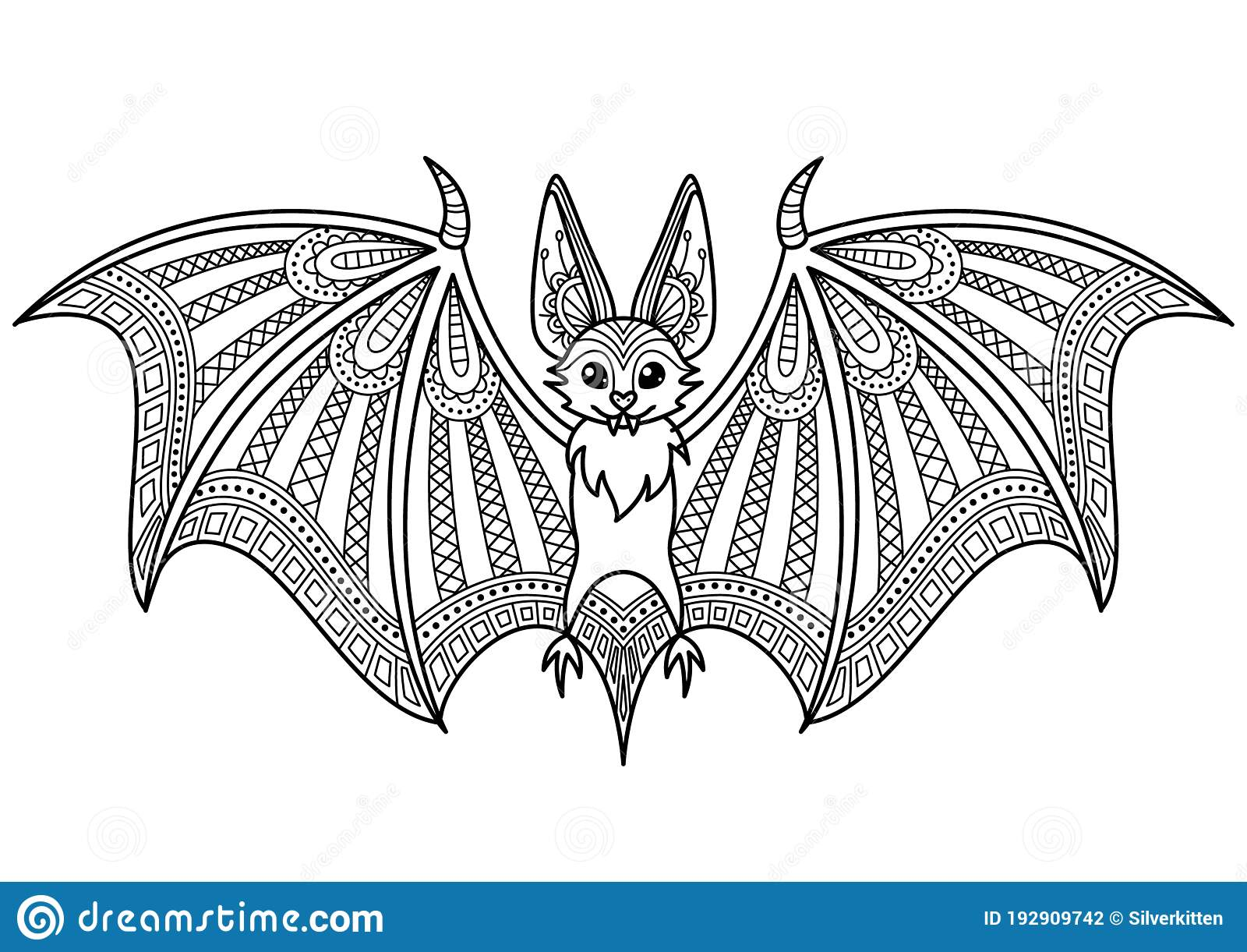 Halloween Bat Doodle Coloring Book Page Antistress For Adult Stock Illustration Illustration Of Night Flight 192909742