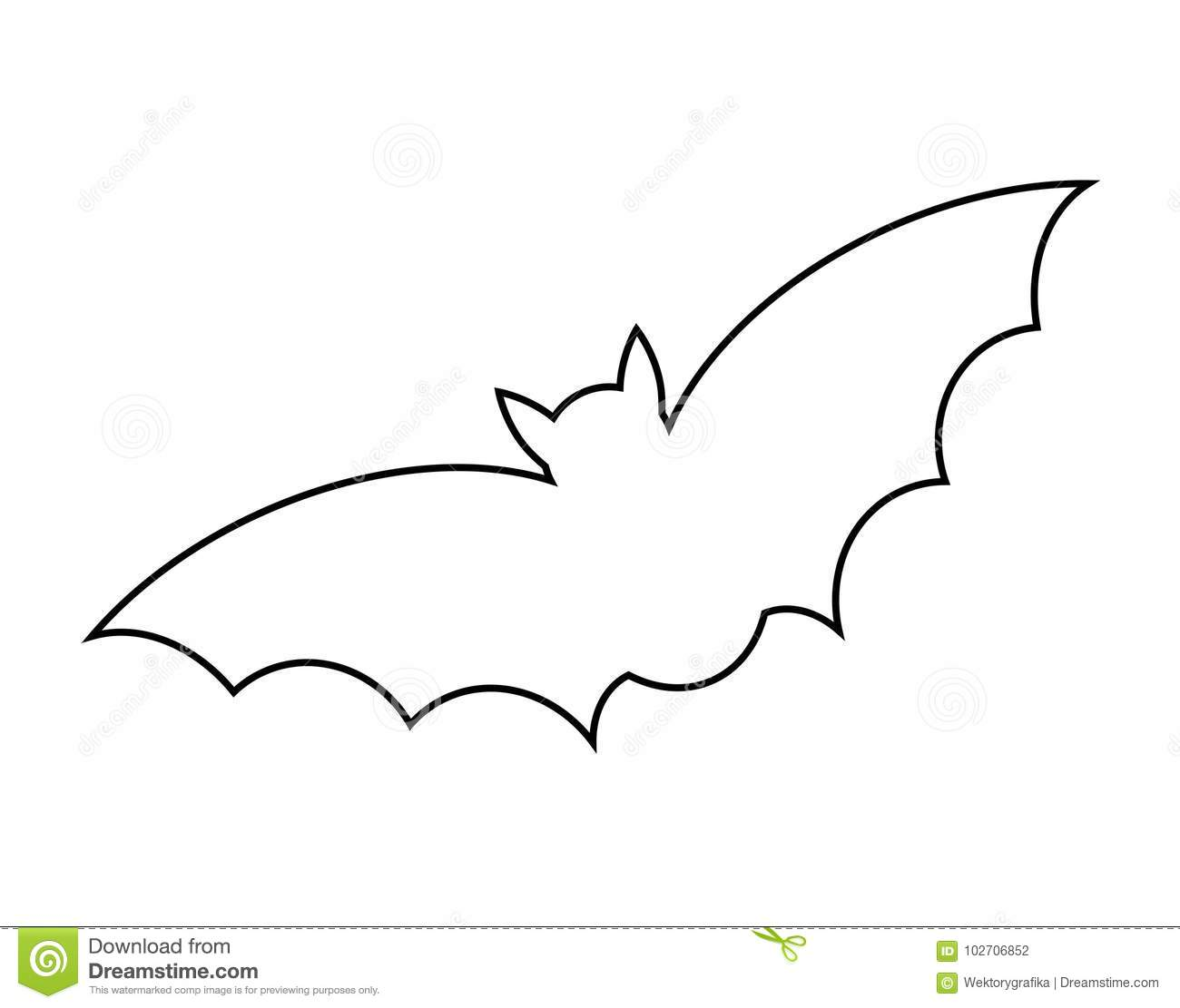 halloween bat outline vector design isolated on white backgroud icon silhouette - Bat Outline