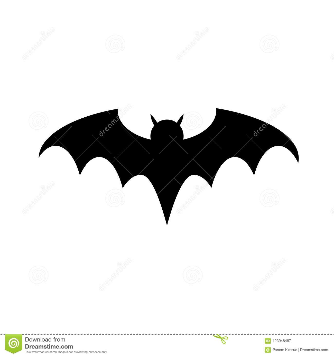 halloween bat silhouette flat icon vector for your web site design