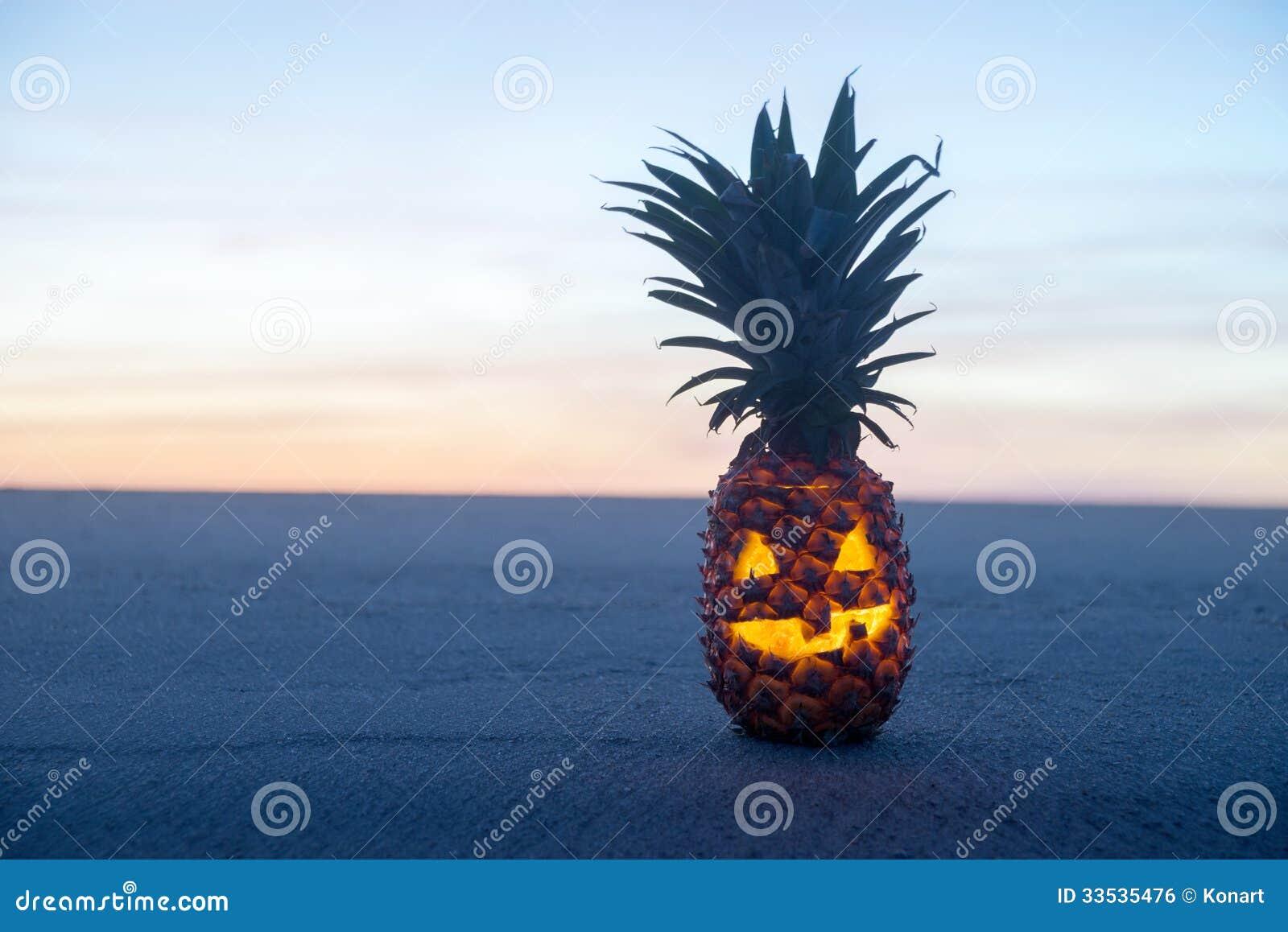 Halloween On Beach. Pineapple Jack O Lantern Royalty Free Stock ...