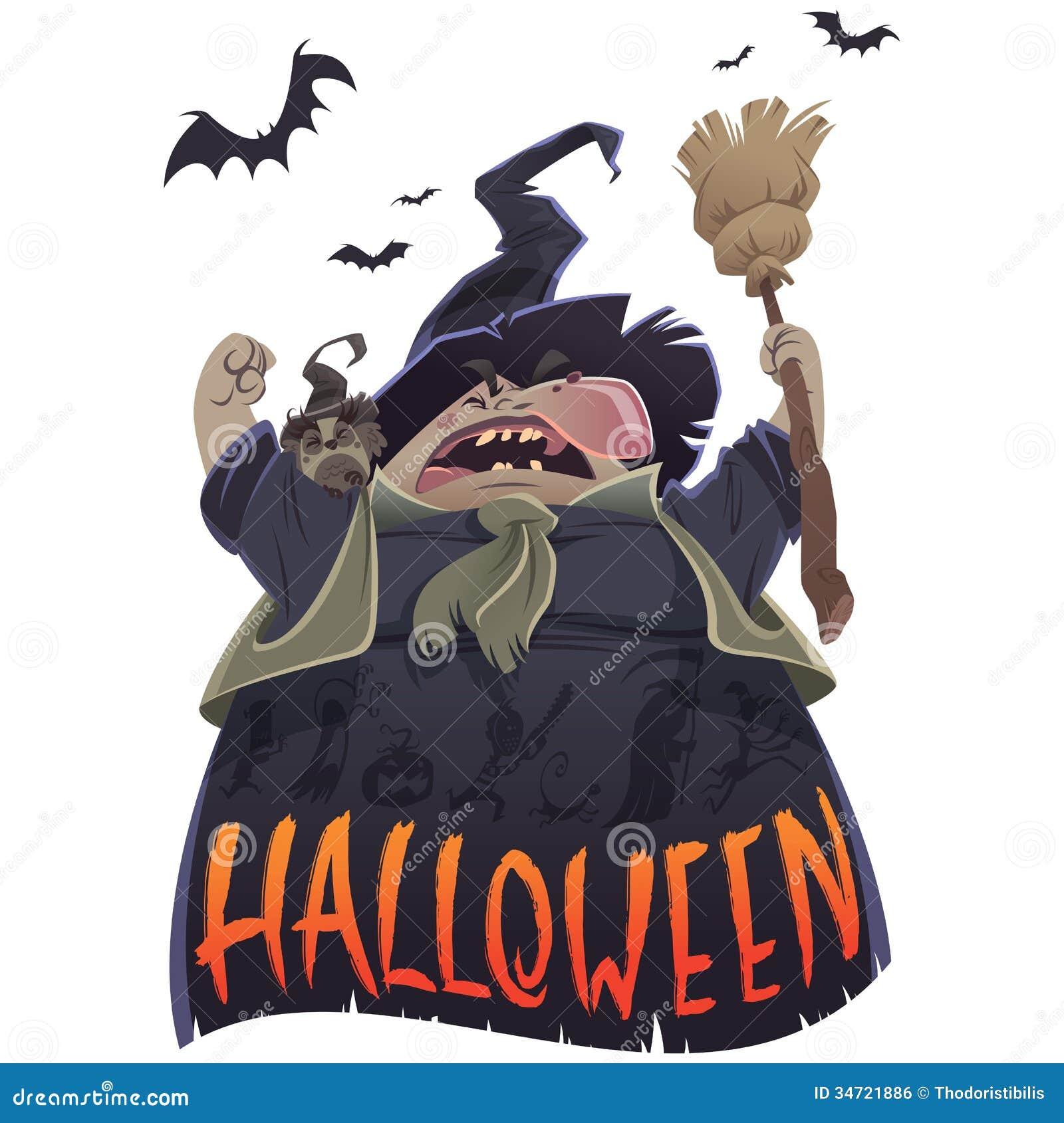 Halloween-beeldverhaal enge heks met bezem en uil