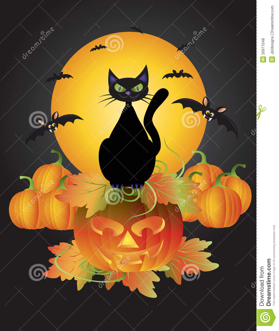 Halloween Black Cat On Carved Pumpkin Illustration Stock Vector    Illustration Of O, Jack: 26971048
