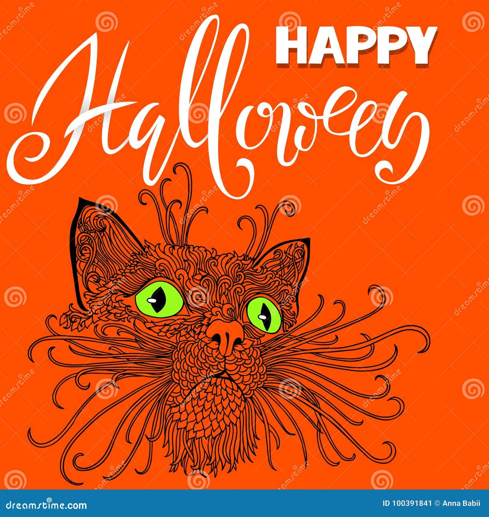 Halloween Black Cat With Green Eyes. Mandala Pattern Style ...