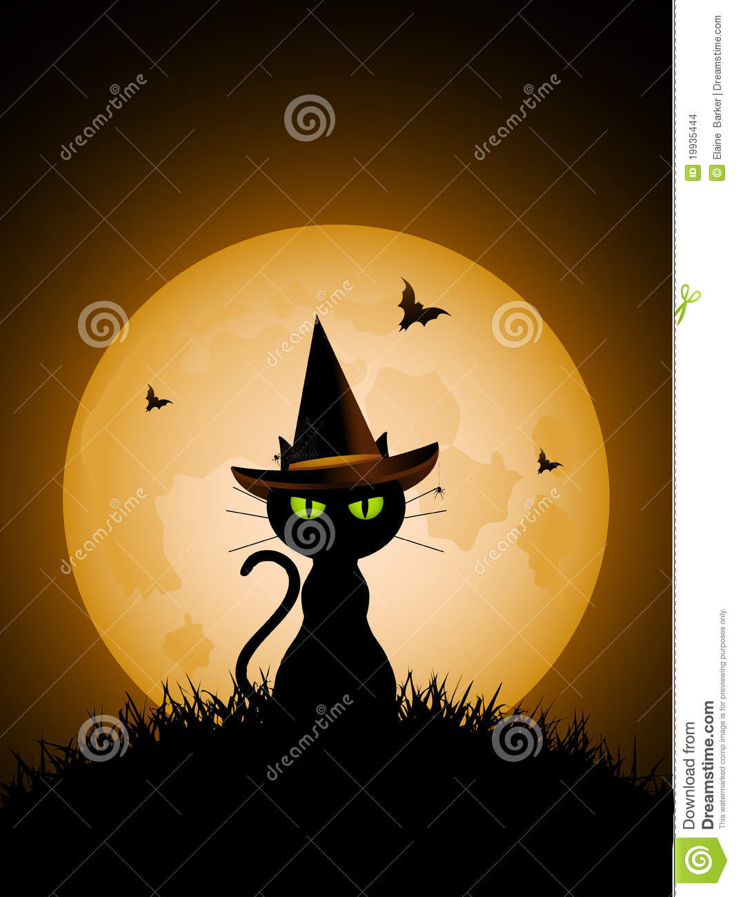 Black cat with green eyes wearing witches hat in front of a full moon.