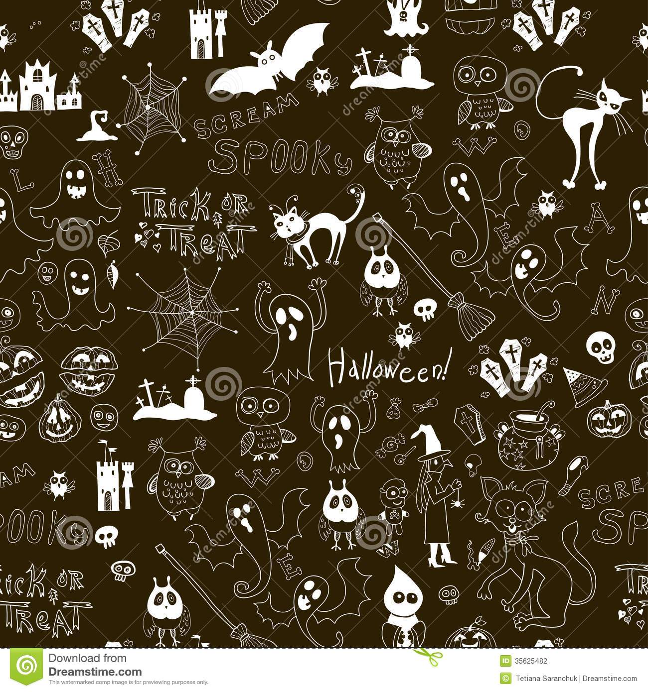 Halloween Black Seamless Pattern With Icons Stock ...