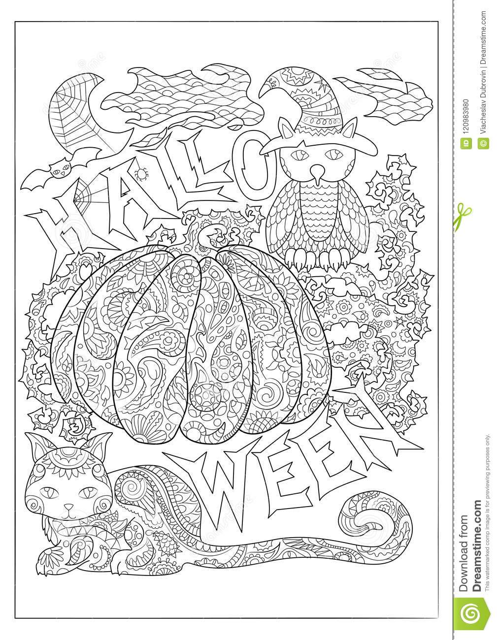 Halloween Black And White Coloring Page With Owl In Magician Hat ...