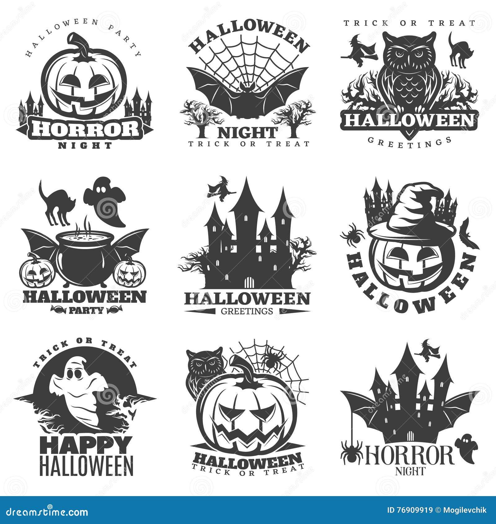 Halloween Black White Emblems Stock Vector - Image: 76909919