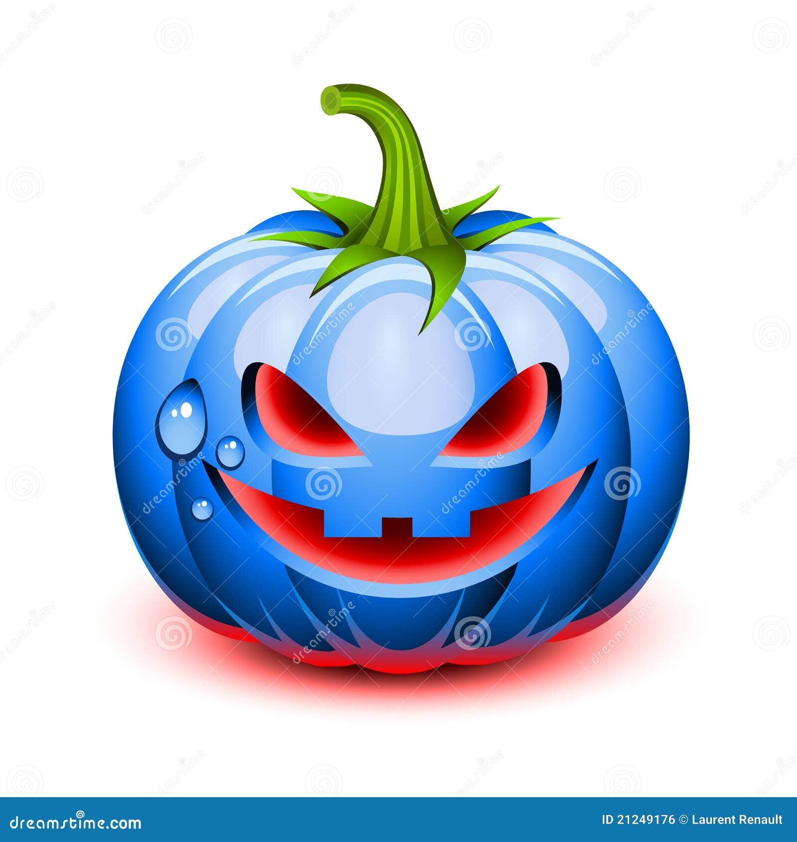 Halloween Blue Pumpkin Face Royalty Free Stock Image