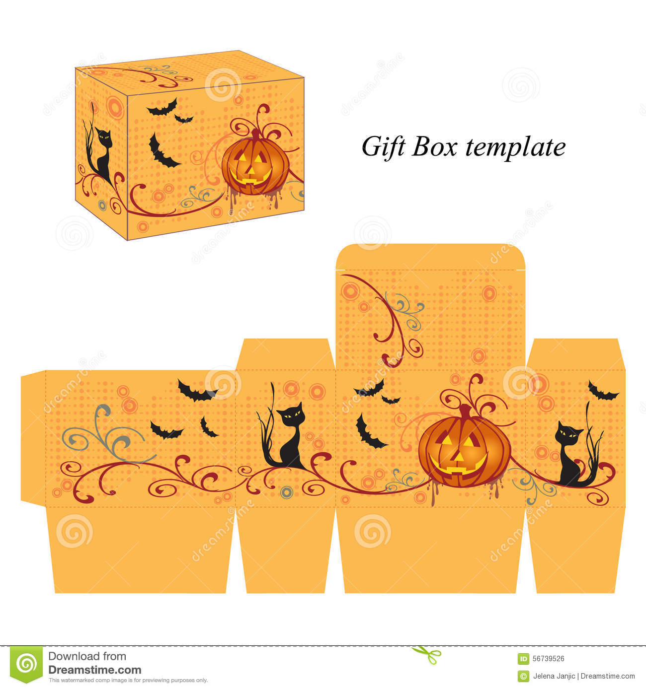 Halloween Box Template With Pumpkin, Black Cat And Bats Stock Vector ...