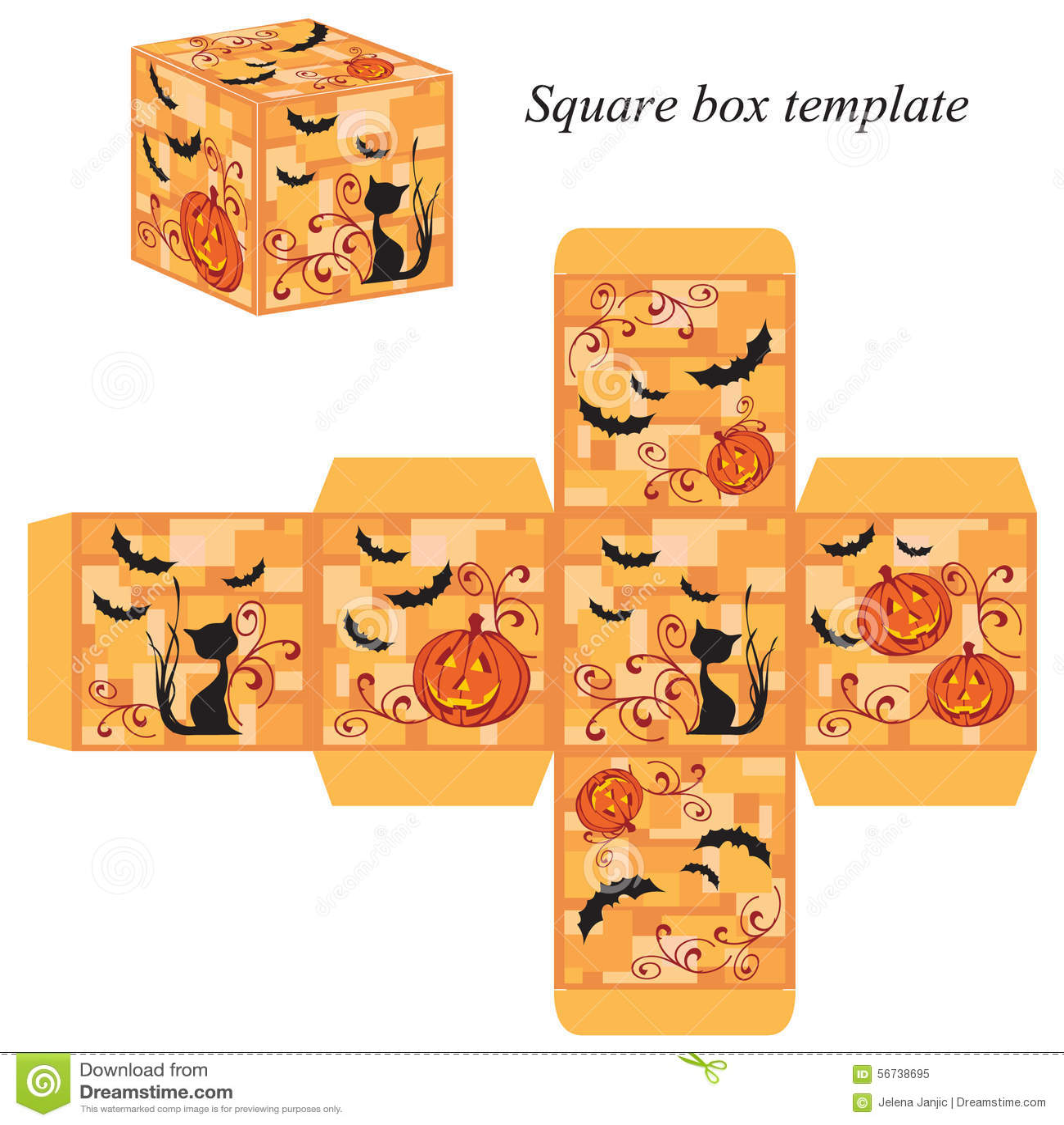 Halloween Box Template With Pumpkin Black Cat And Bats