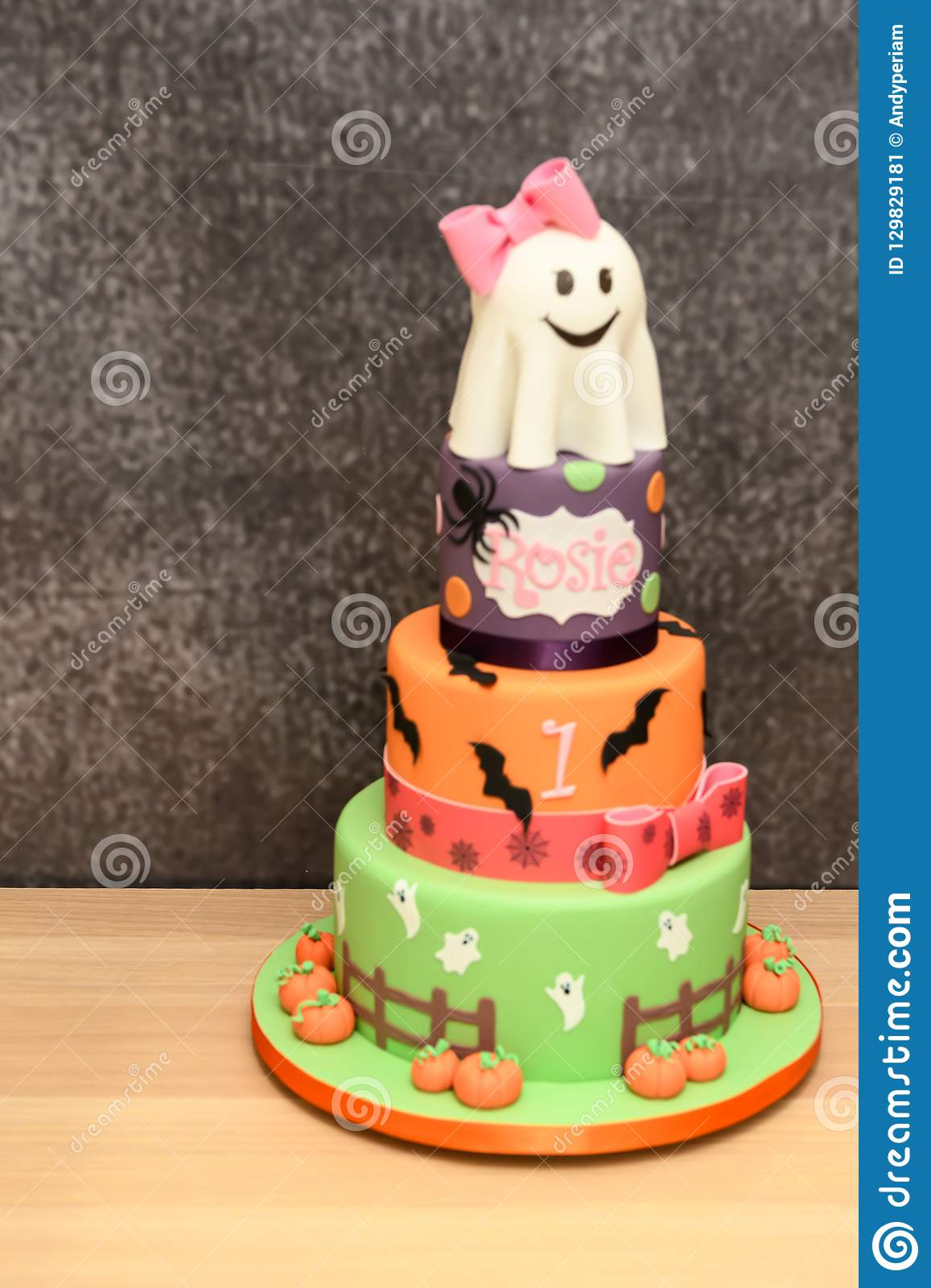 Outstanding Halloween Cake Isolated Stock Image Image Of Orange 129829181 Funny Birthday Cards Online Barepcheapnameinfo