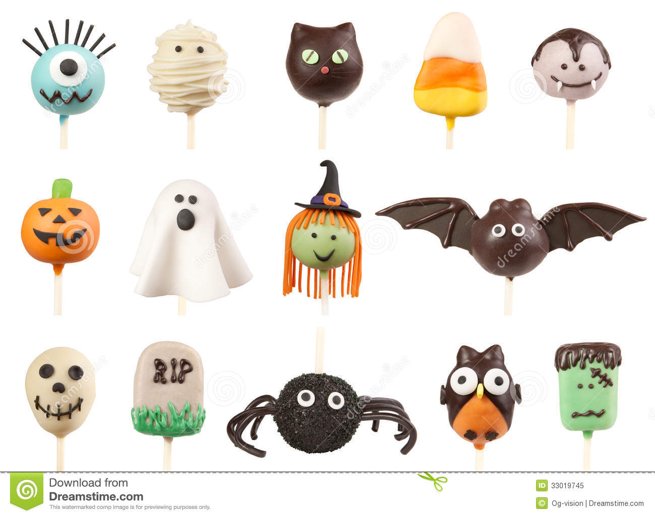 halloween cake pops stock image. image of fondant, cake - 33019745