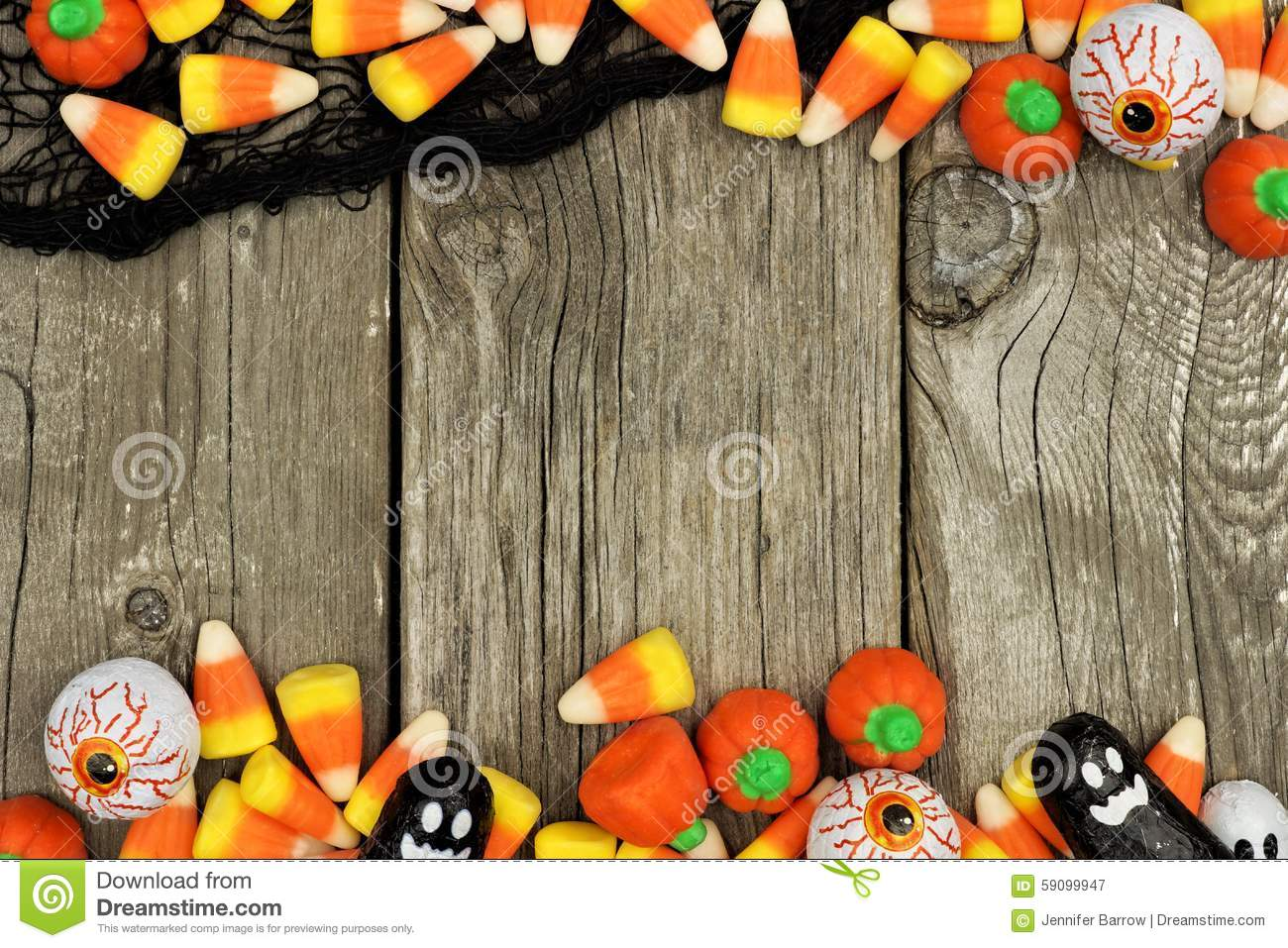 Halloween Candy And Black Cloth Double Border Against