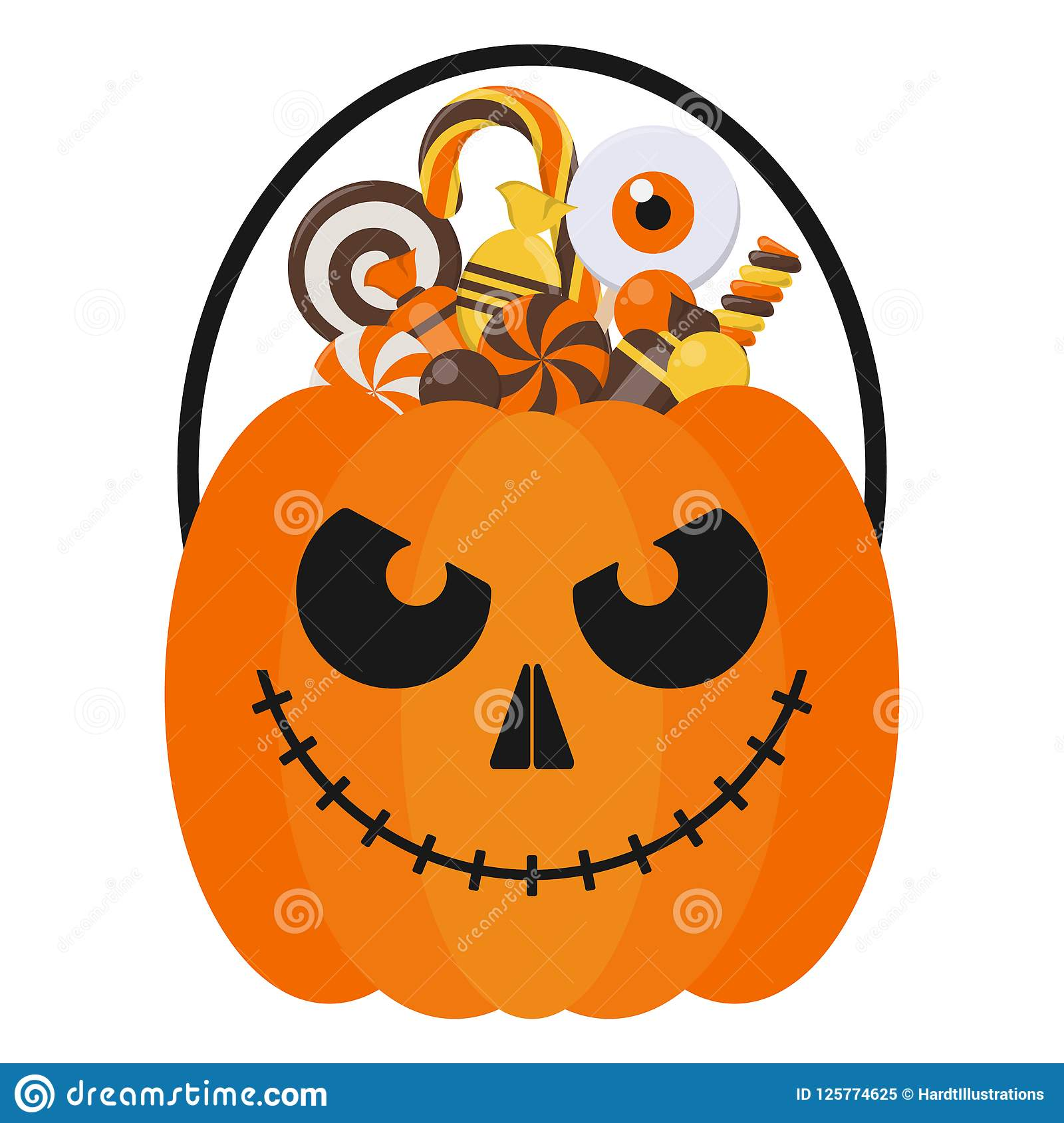 halloween candy bucket and candies stock vector - illustration of
