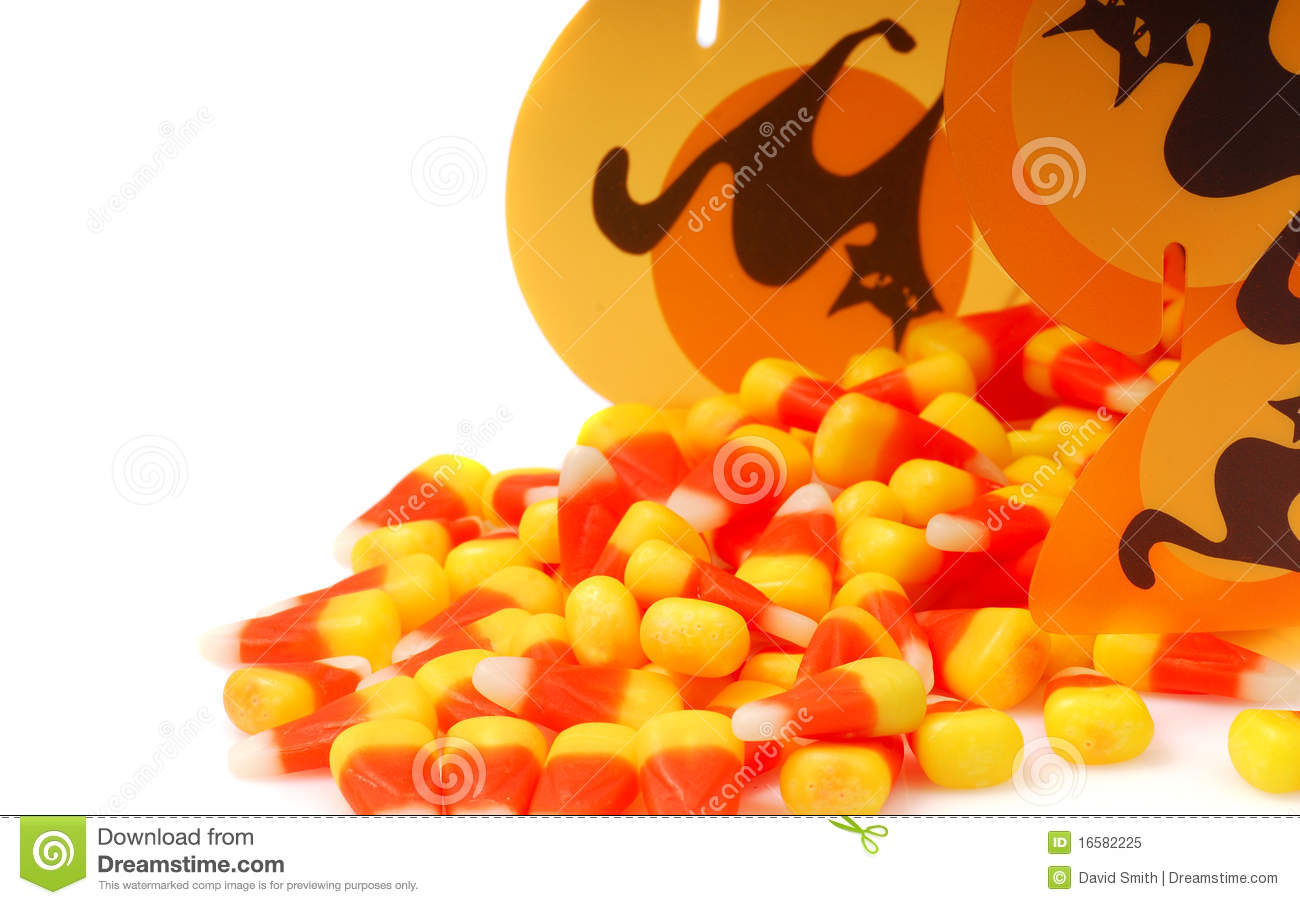 Halloween candy corn spilling out of a box
