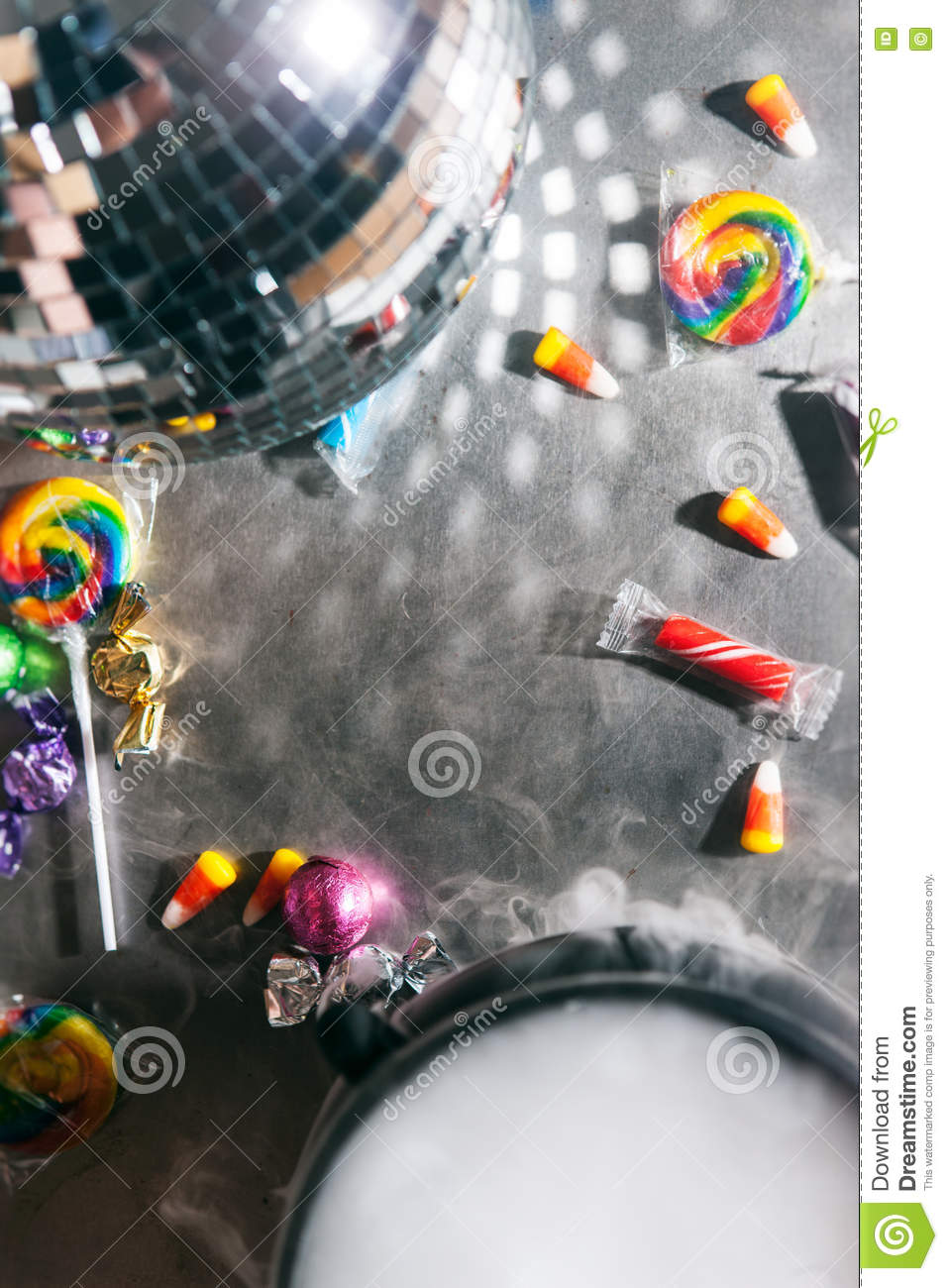halloween candy and party background with open space in center