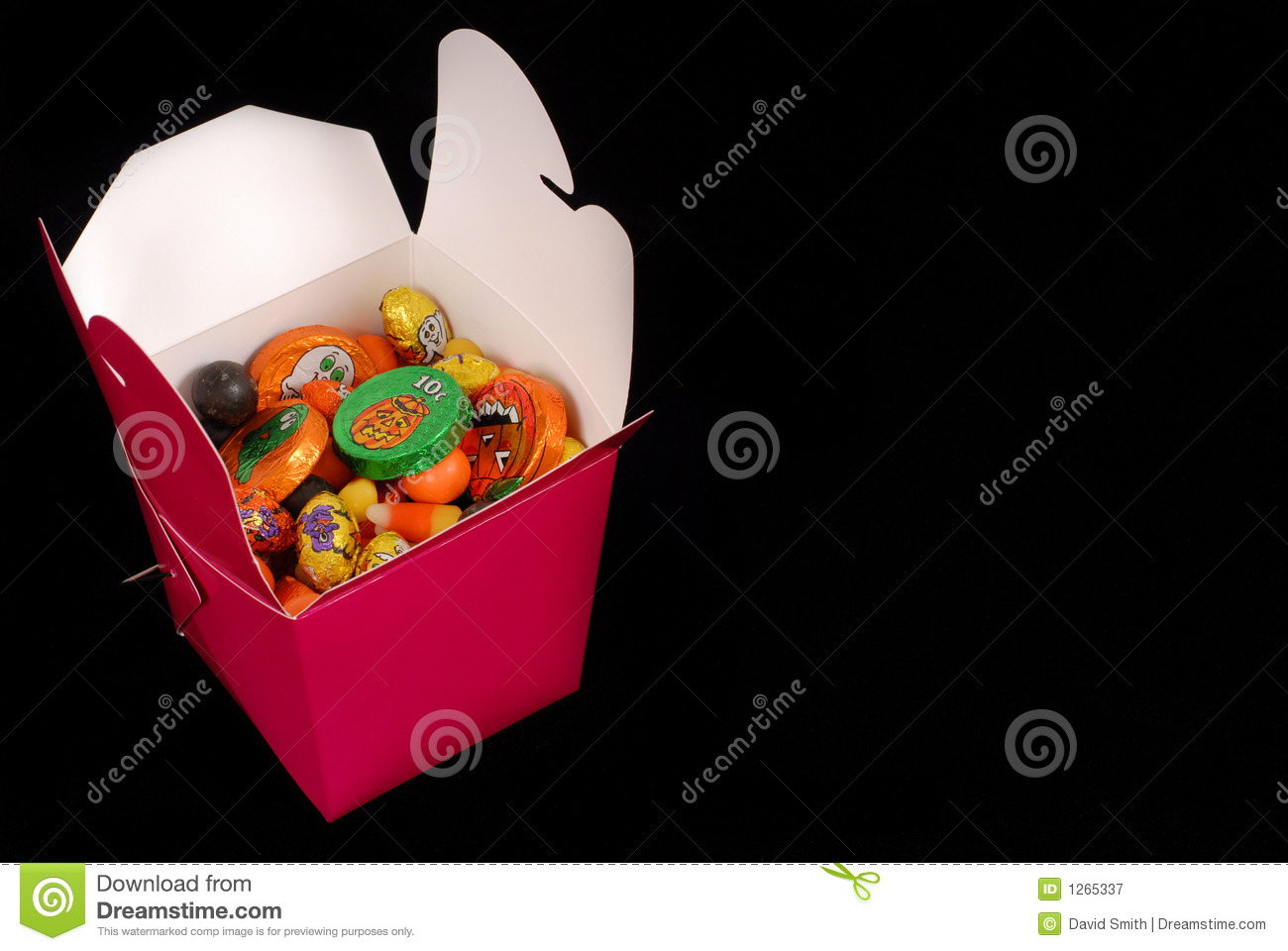 Halloween candy in a red chinese food container
