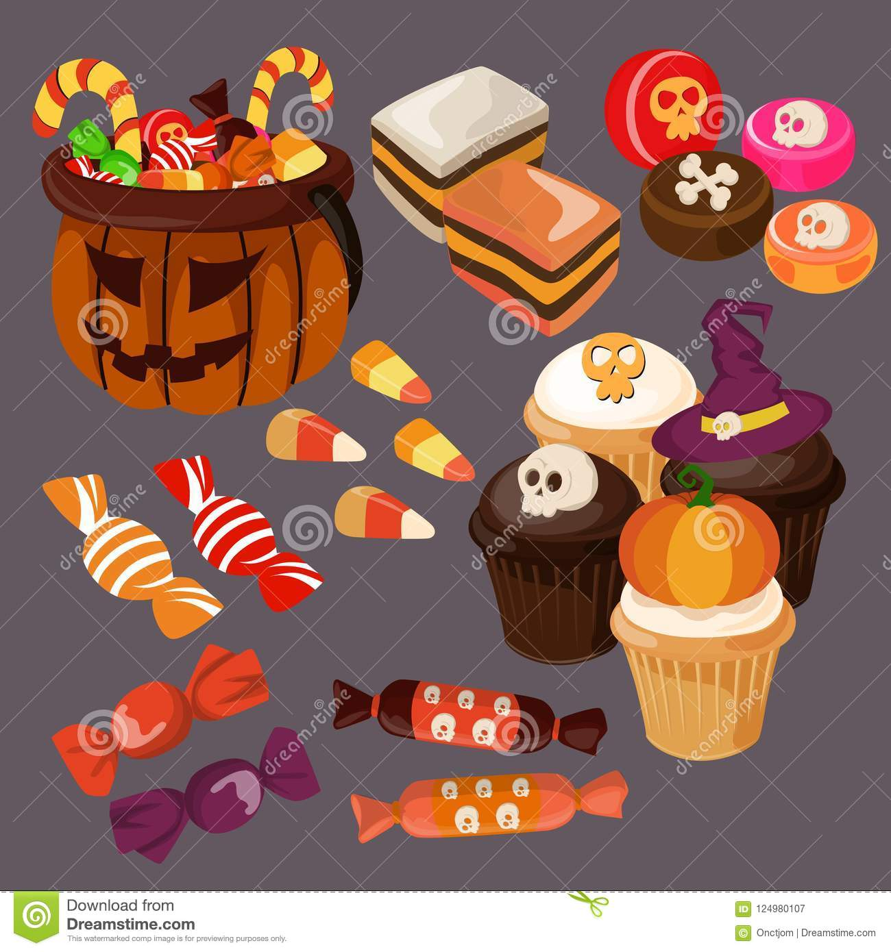 download cute halloween candy and treats stock vector illustration of cupcake celebration 124980107