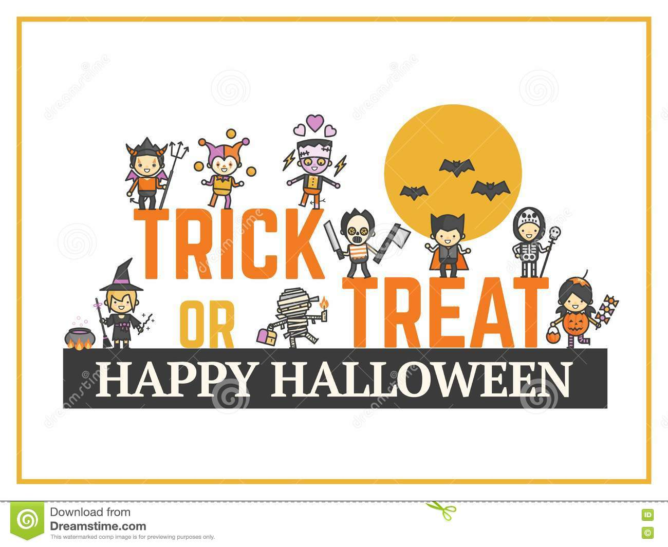 image about Printable Halloween Card identified as Halloween Card For Dress Bash Night time For Baby Lovely Cartoon