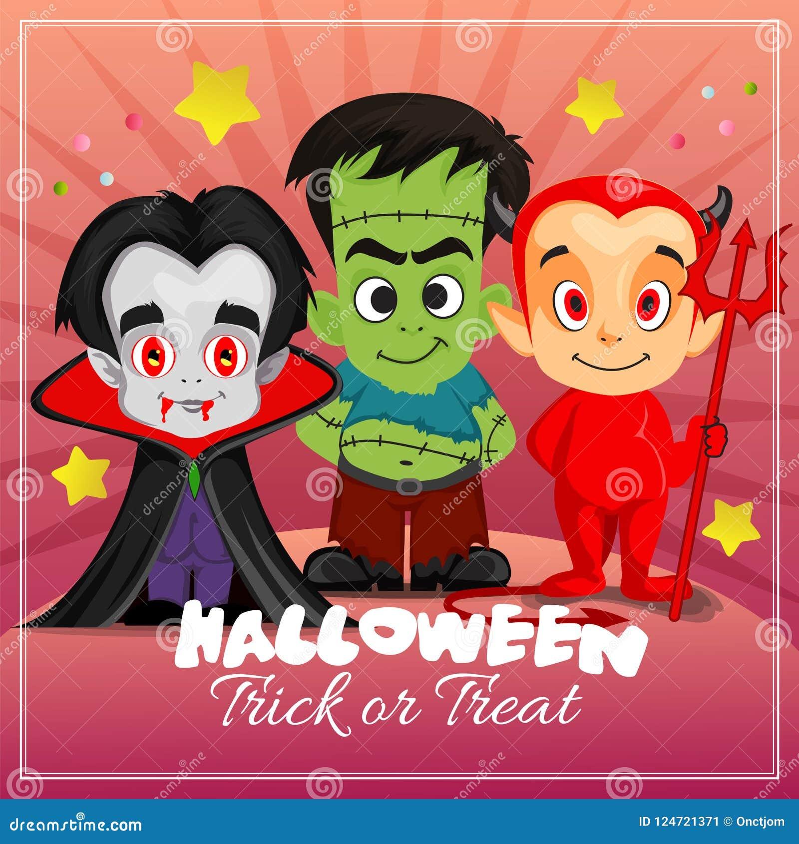 Halloween Card With Frankenstein Dracula Stock Vector Illustration