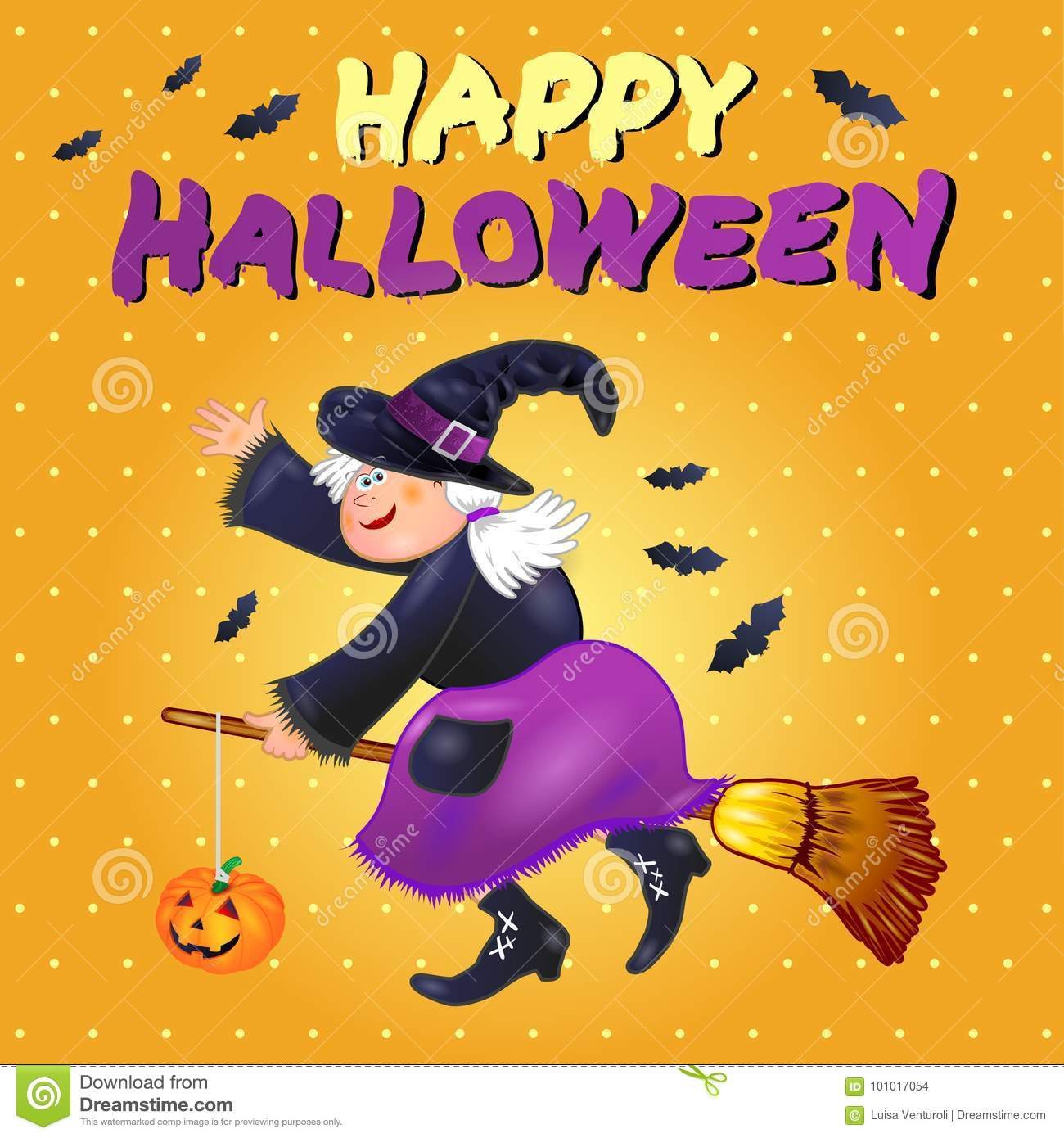 Halloween Card With Funny Old Witch Stock Vector Illustration Of