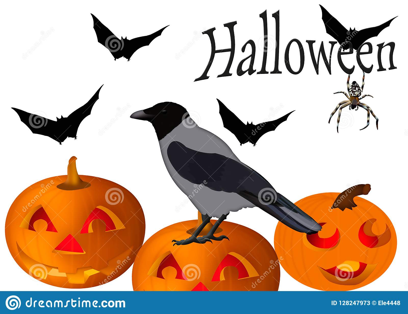 halloween card illustration with crow pumpkins bats and spide
