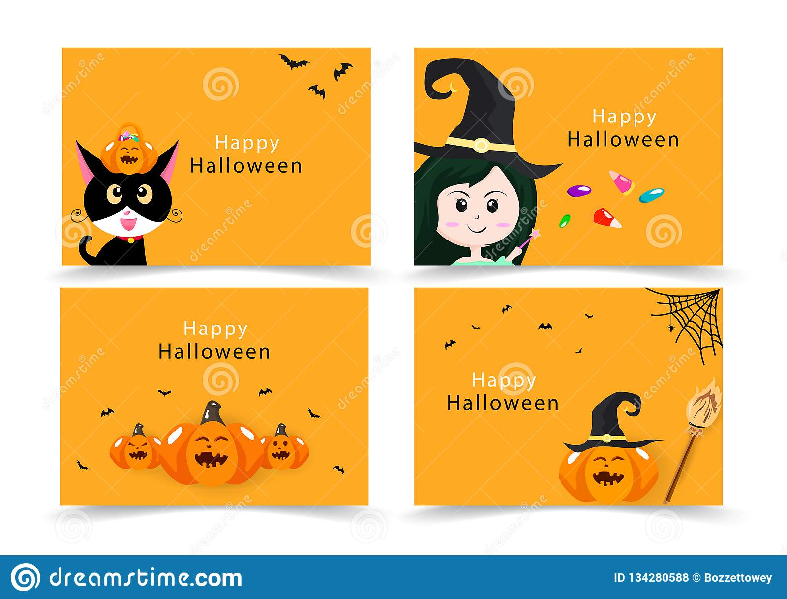 Halloween card, invitation greeting, happy cat, witch, candy and pumpkin party banner kids collection, cartoon flat design cute
