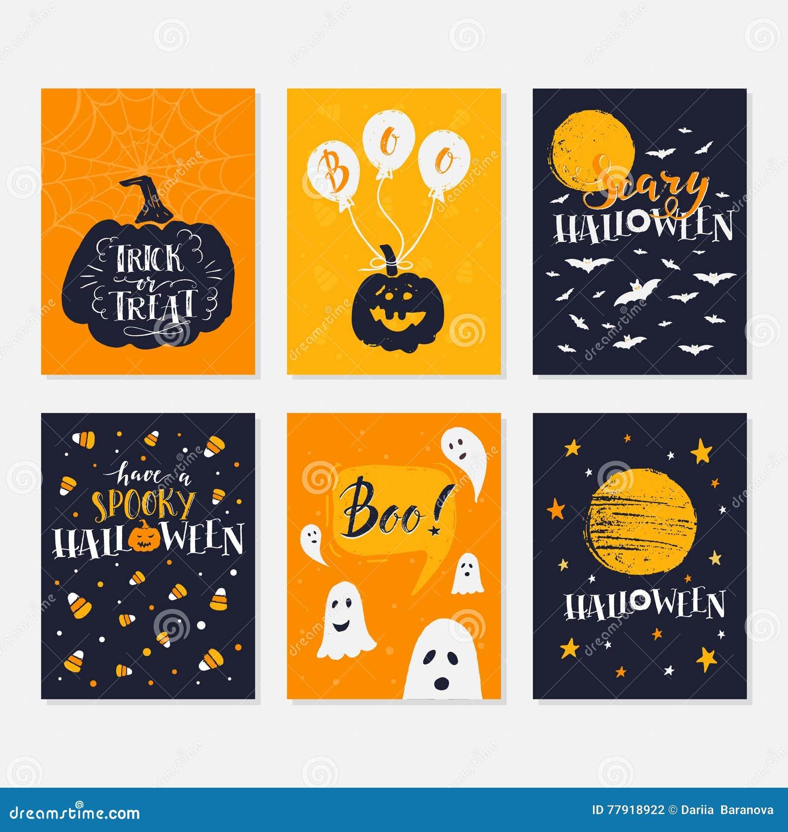 halloween cards set stock vector illustration of moon 77918922