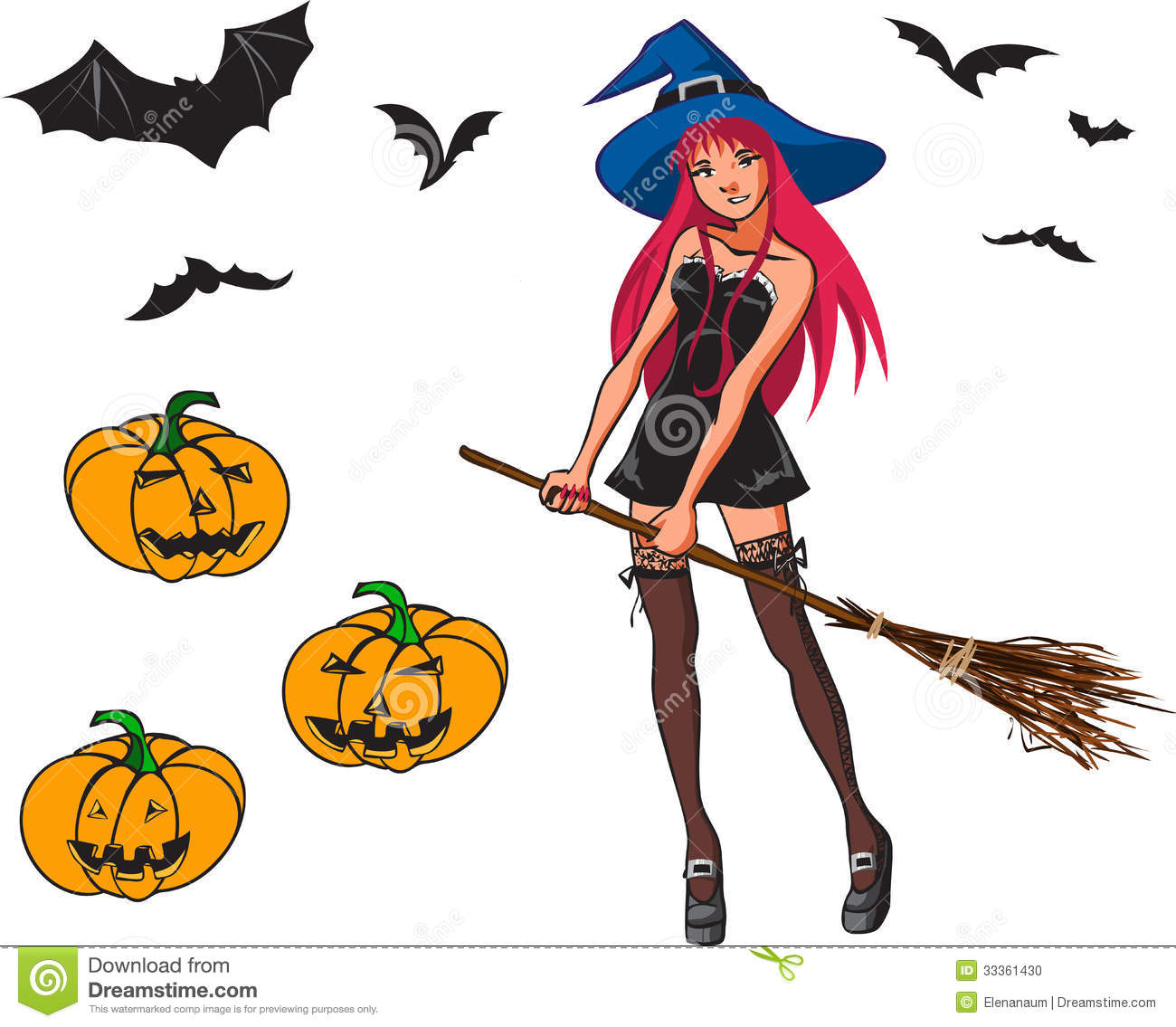 halloween cartoon collection with witch bat and p stock photo