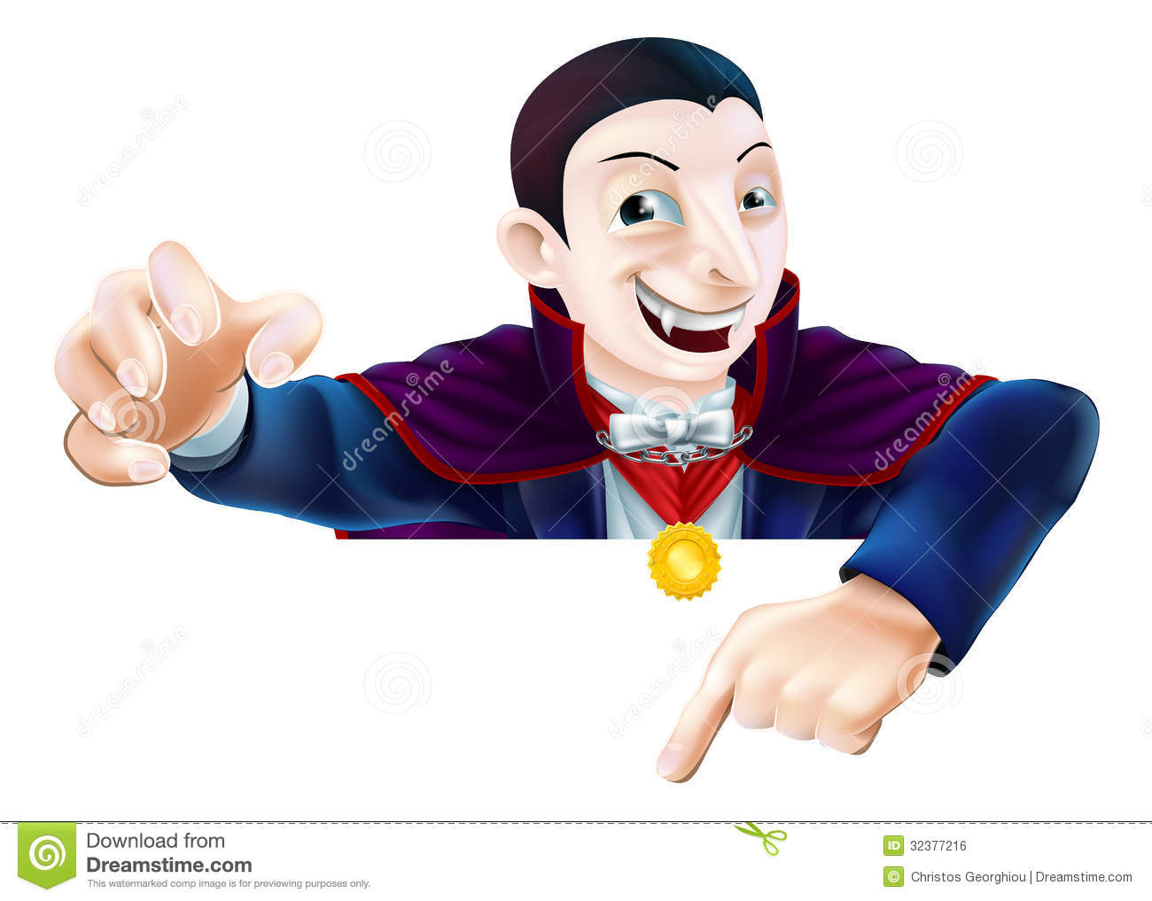 Halloween Cartoon Dracula Pointing Stock Vector - Image ...
