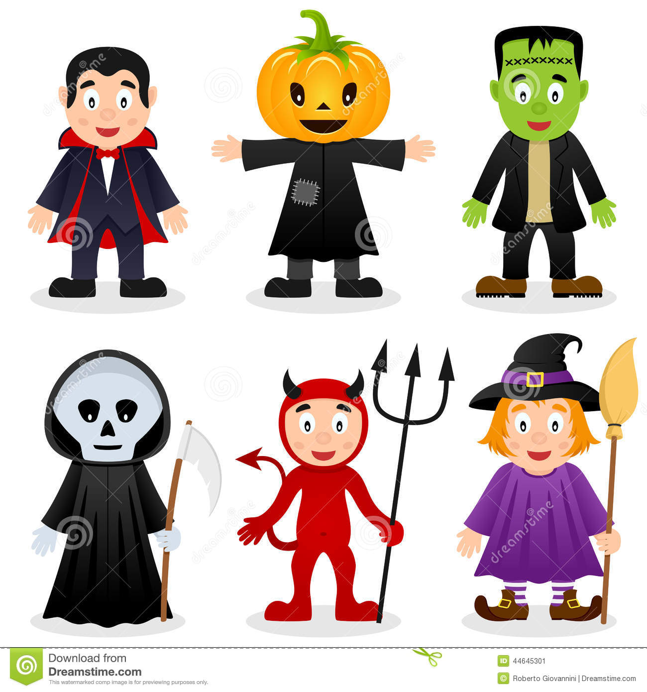 collection of six cartoon Halloween monsters, isolated on white ...